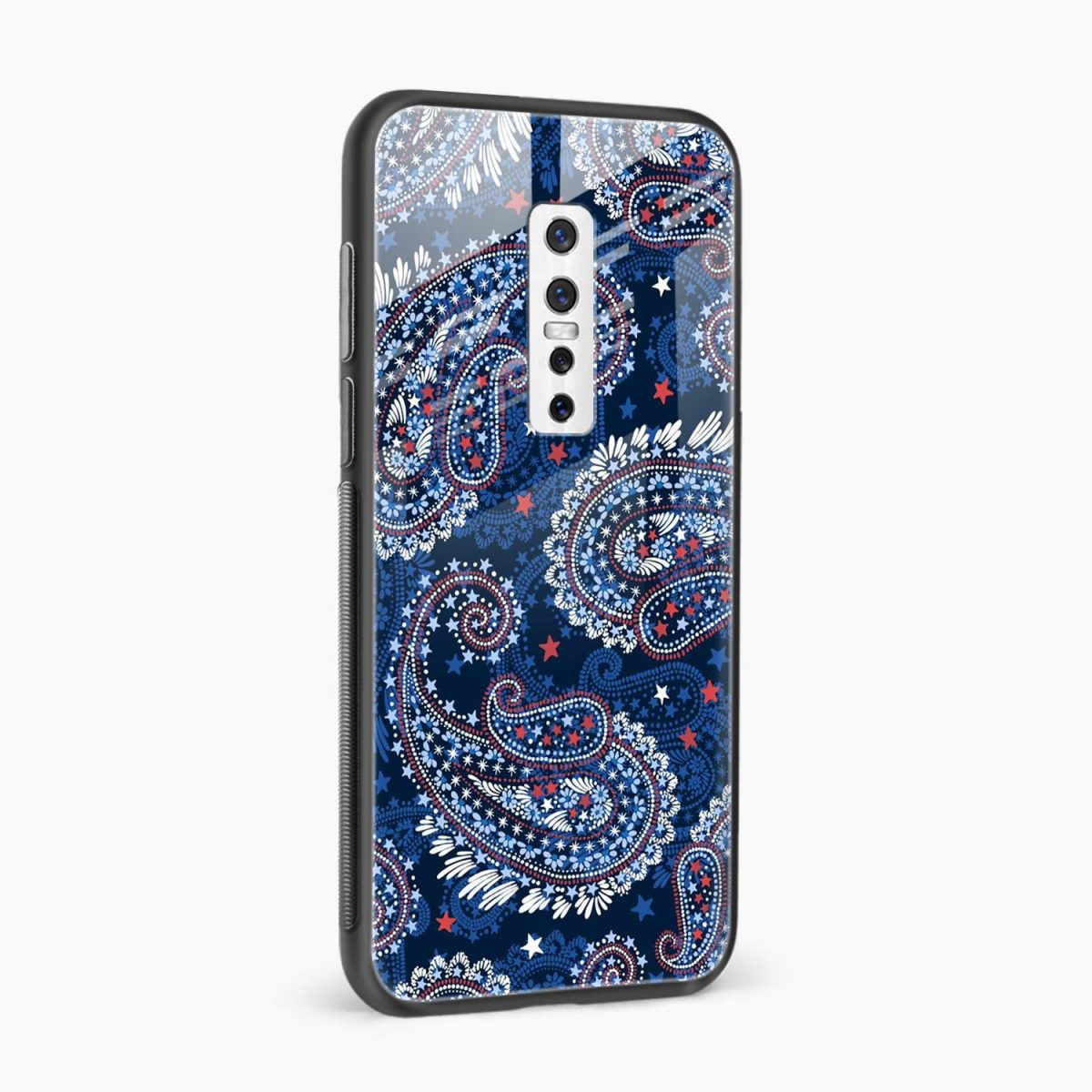 blue colored classical pattern side view vivo v17 plug back cover