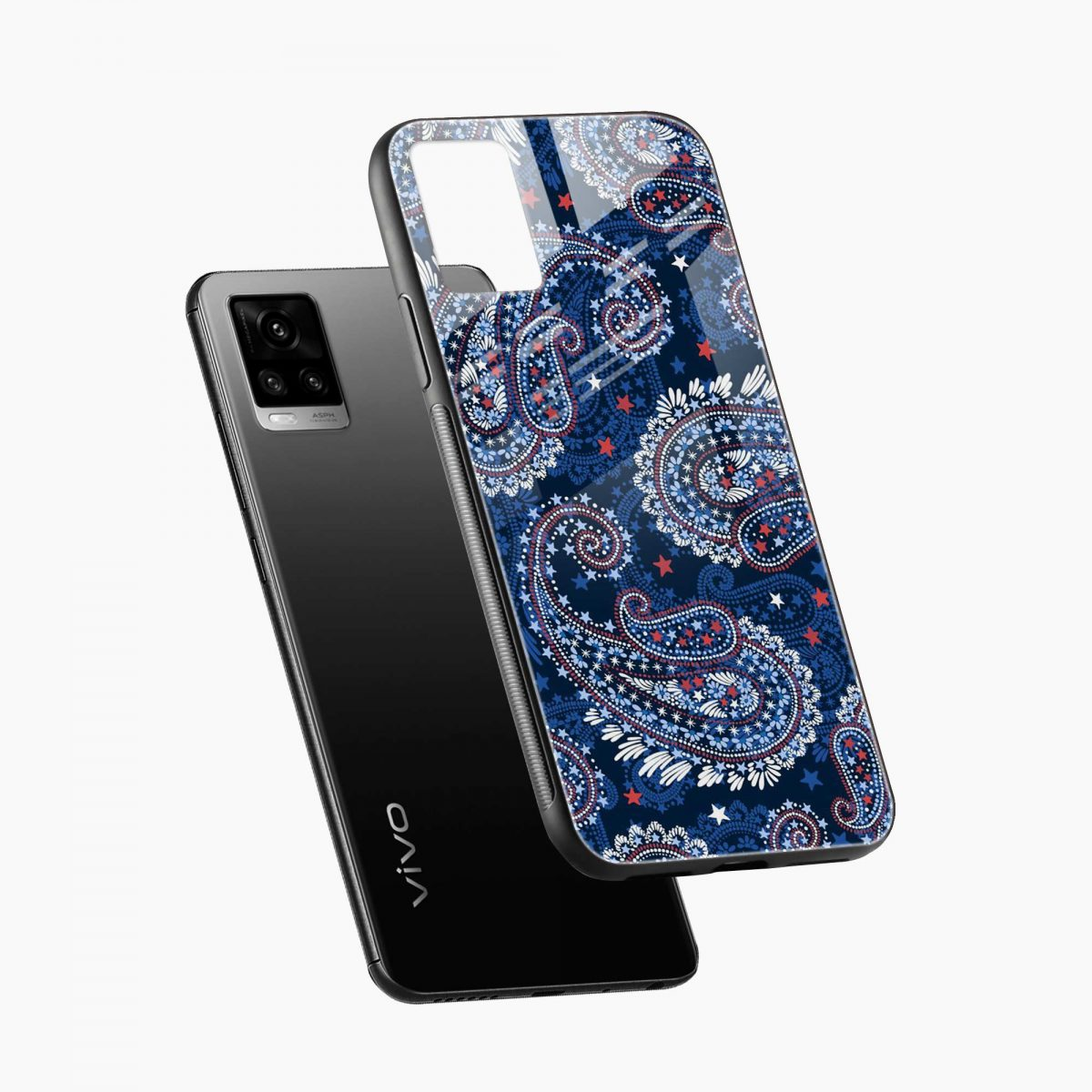 blue colored classical pattern diagonal view vivo v20 back cover
