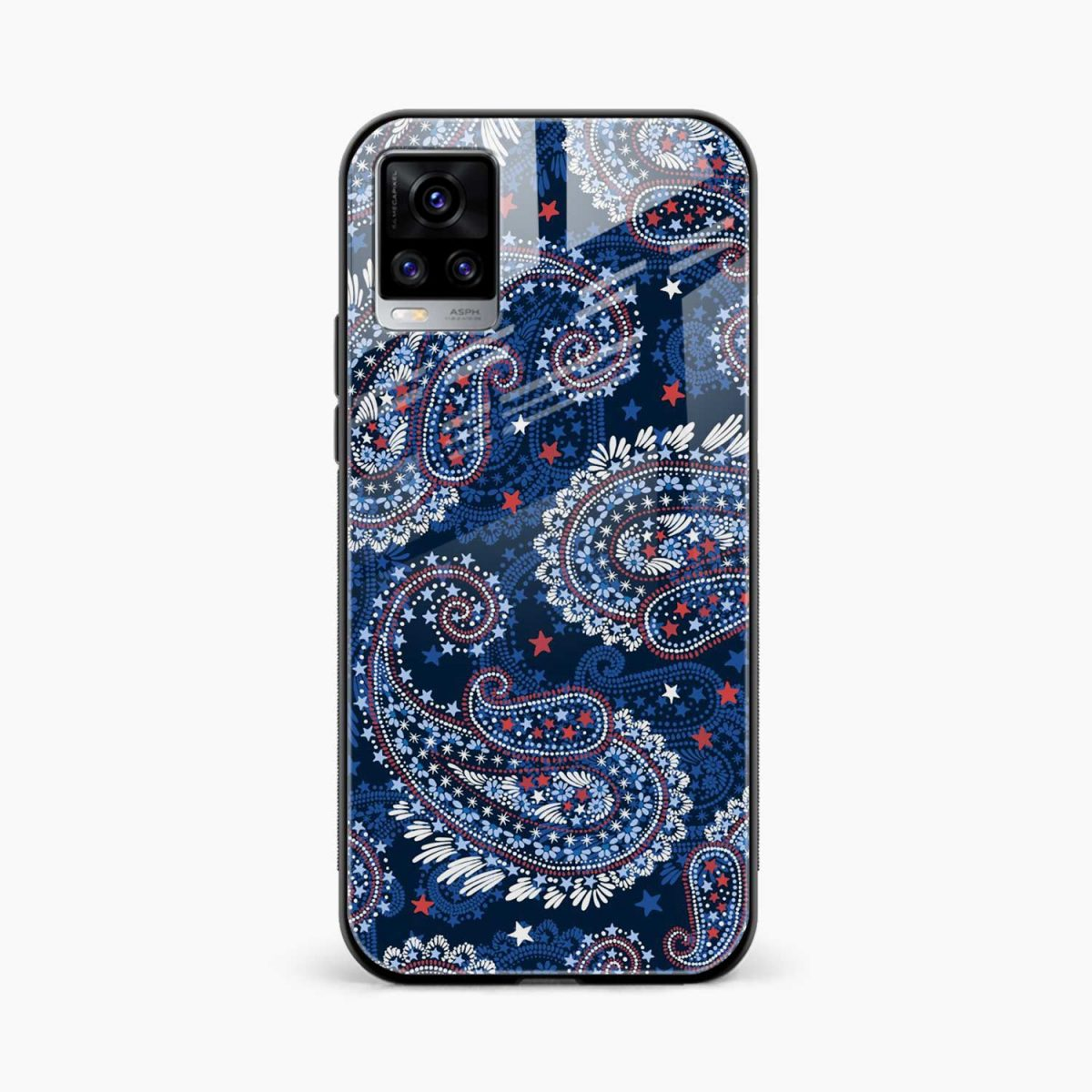 blue colored classical pattern front view vivo v20 back cover