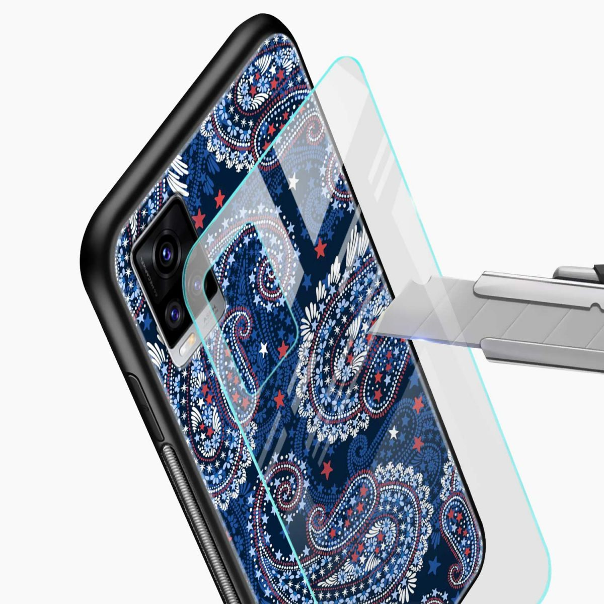 blue colored classical pattern glass view vivo v20 back cover