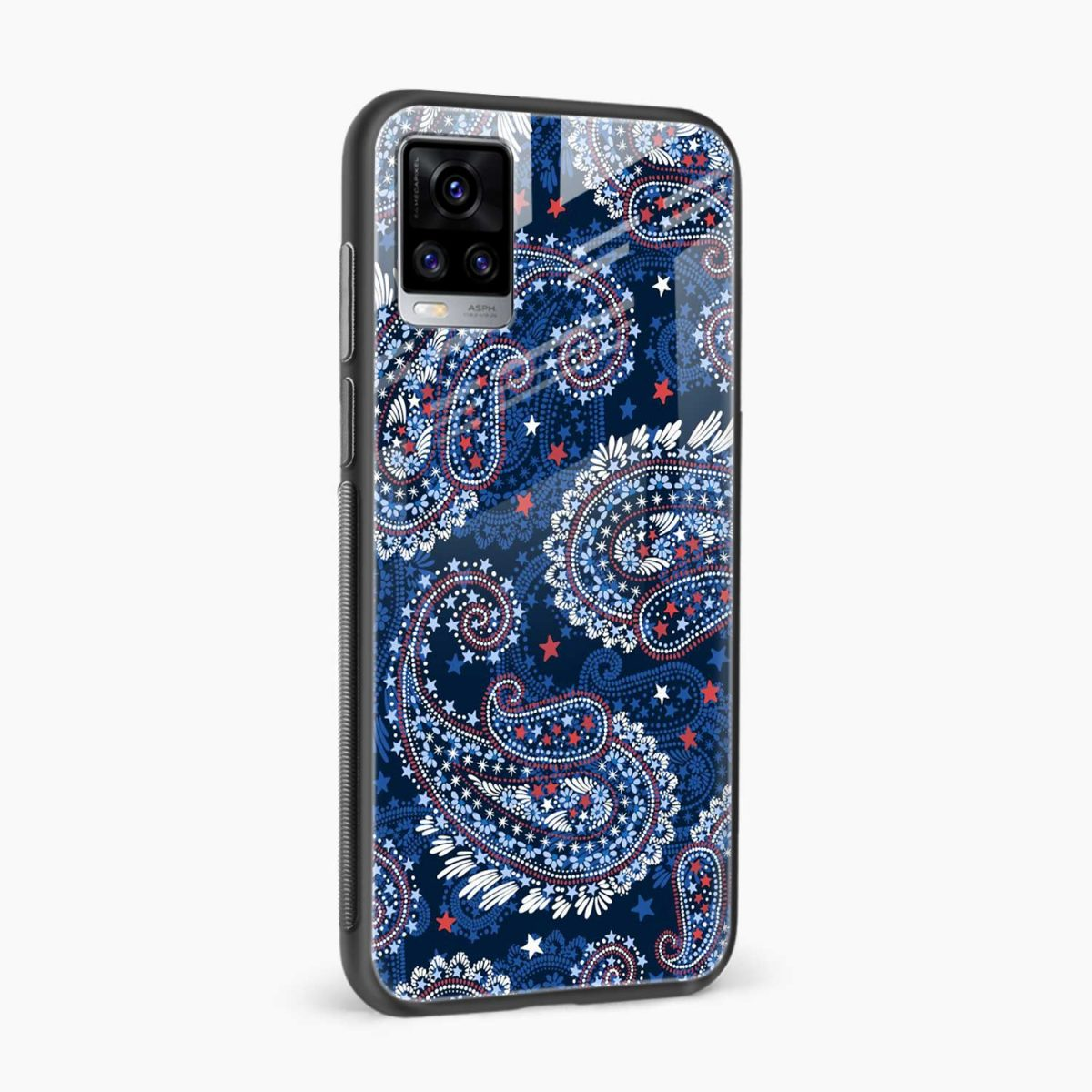 blue colored classical pattern side view vivo v20 back cover