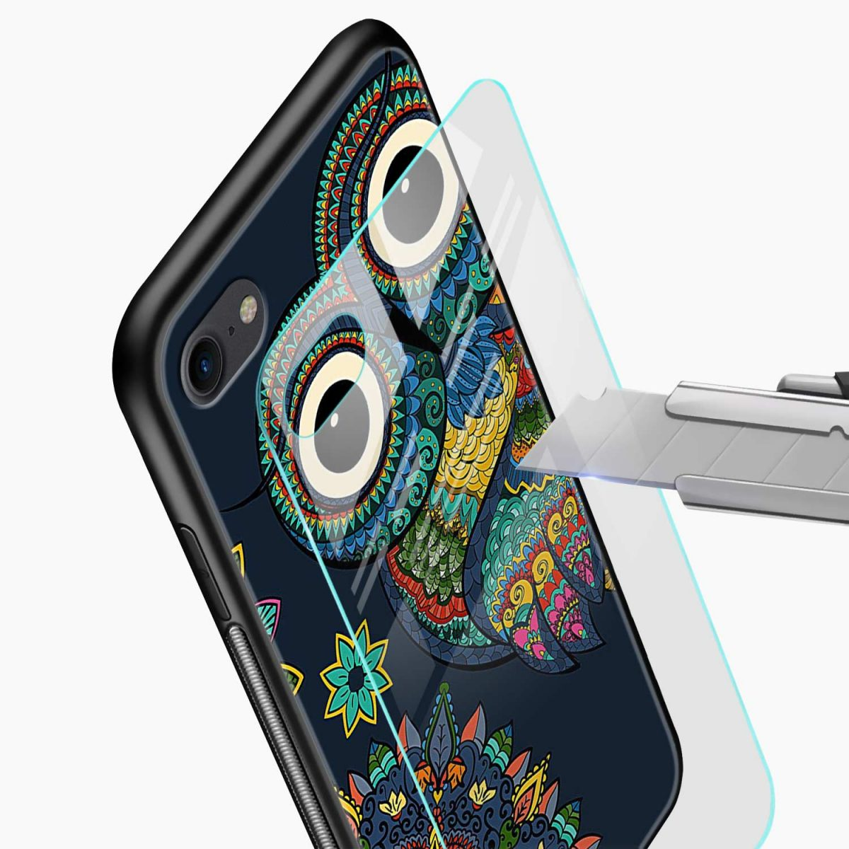 owl eyes glass view apple iphone 6 7 8 se back cover