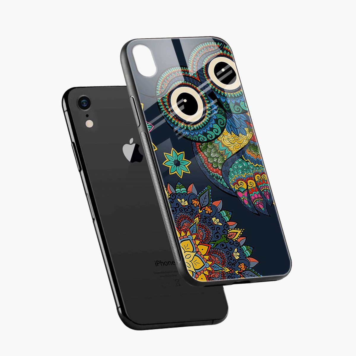 owl eyes apple iphone xr back cover diagonal view