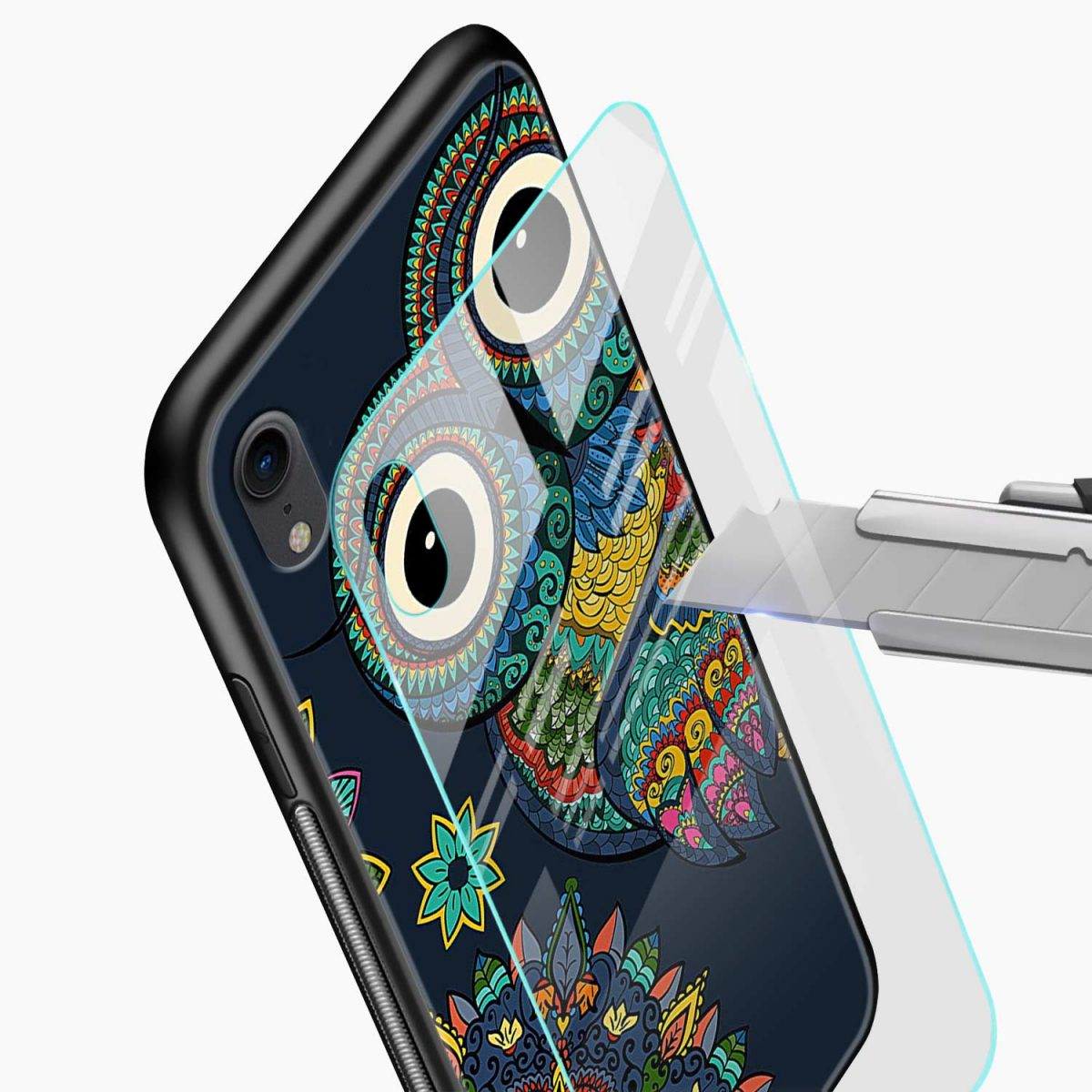 owl eyes apple iphone xr back cover glass view