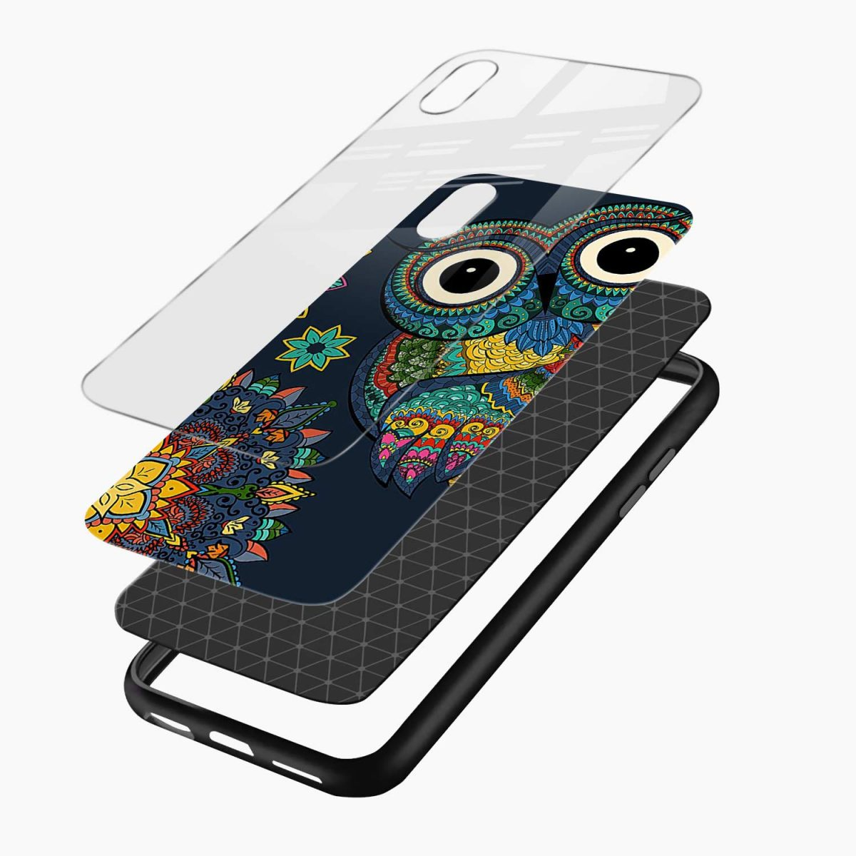 owl eyes apple iphone xr back cover layers view