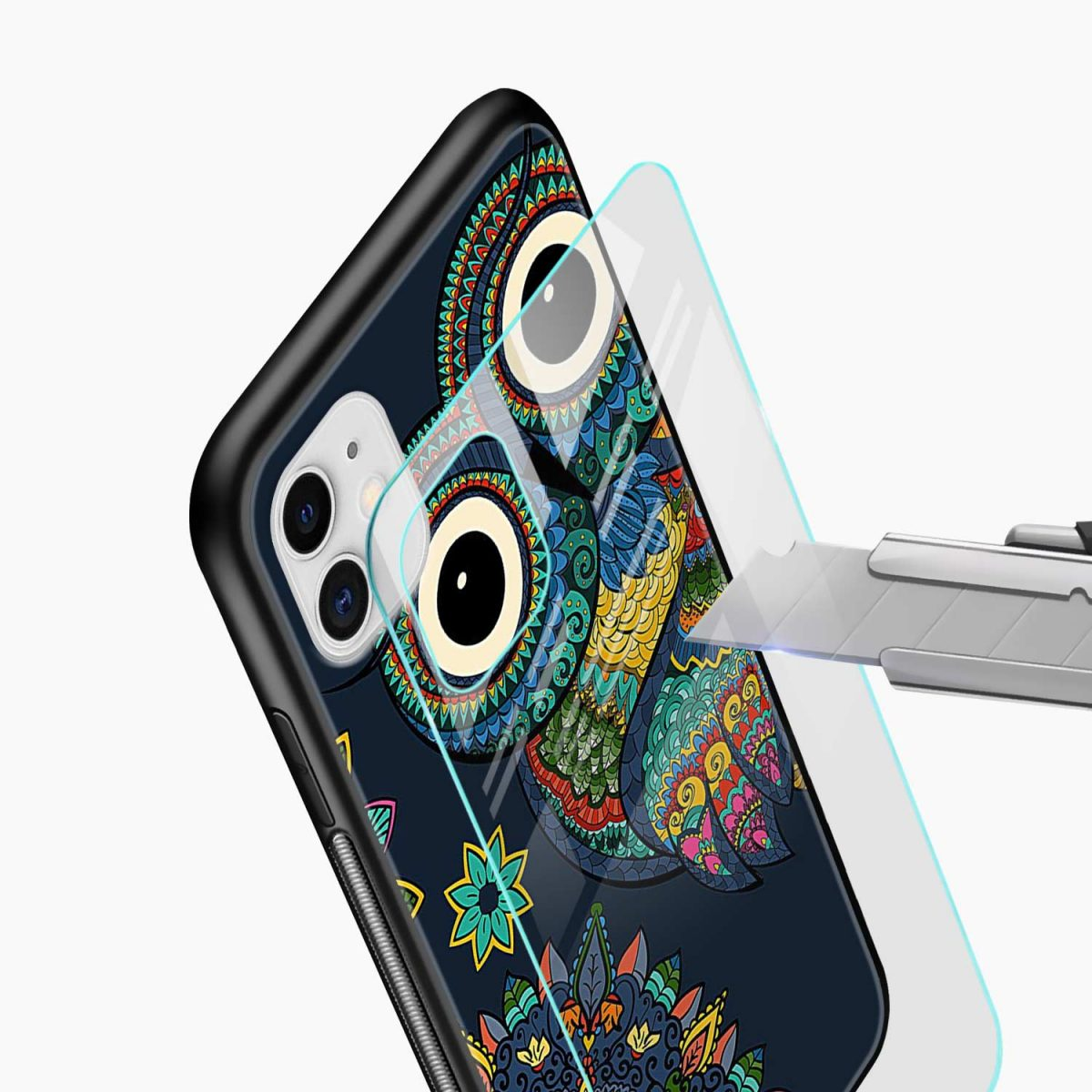 owl eyes iphone back cover glass view