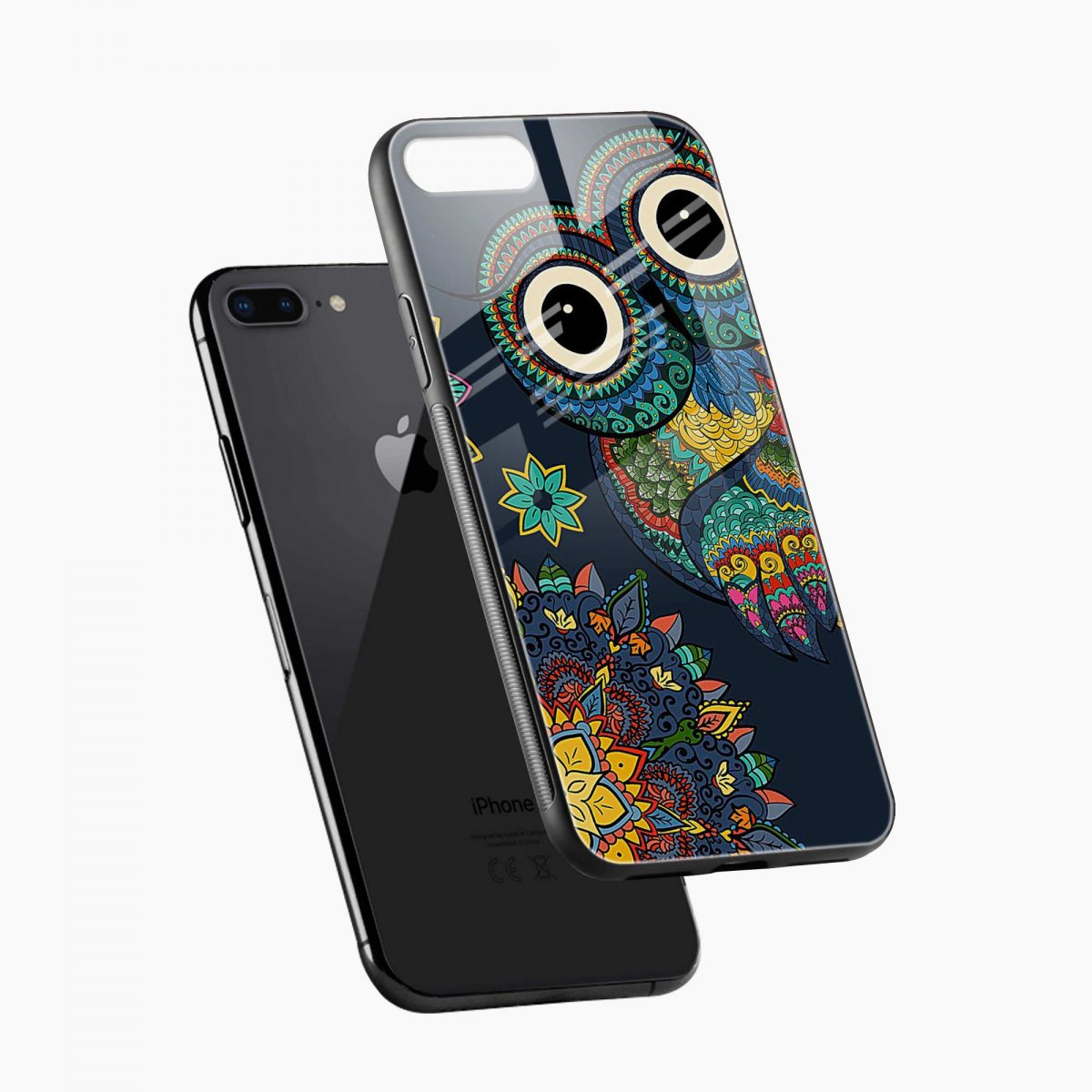 owl eyes diagonal view apple iphone 7 8 plus back cover