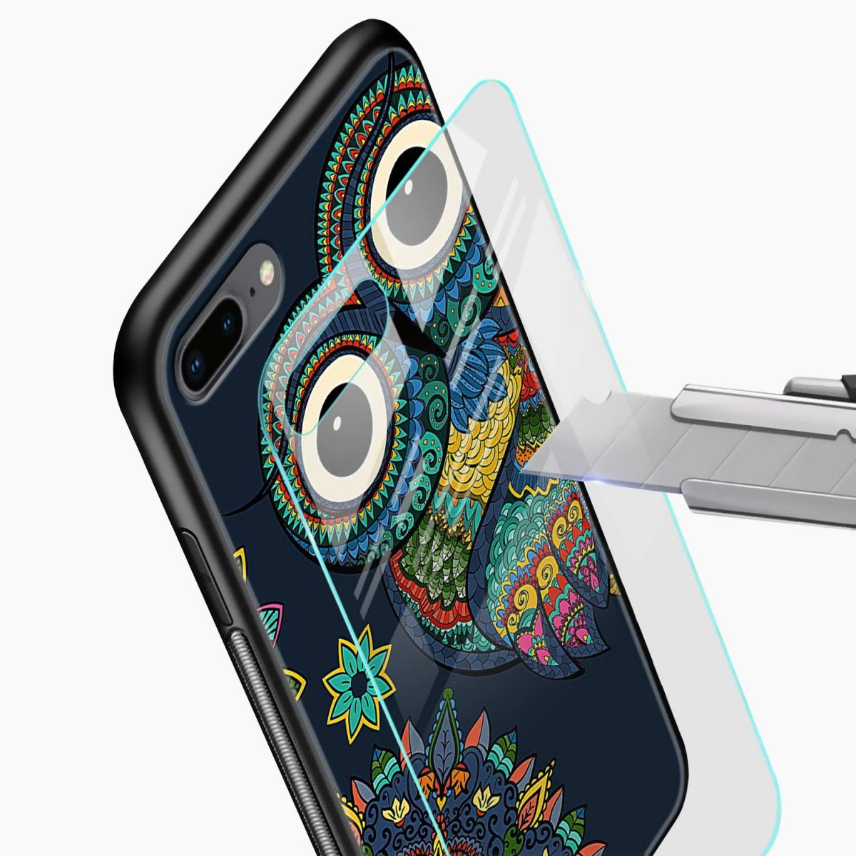 owl eyes glass view apple iphone 7 8 plus back cover