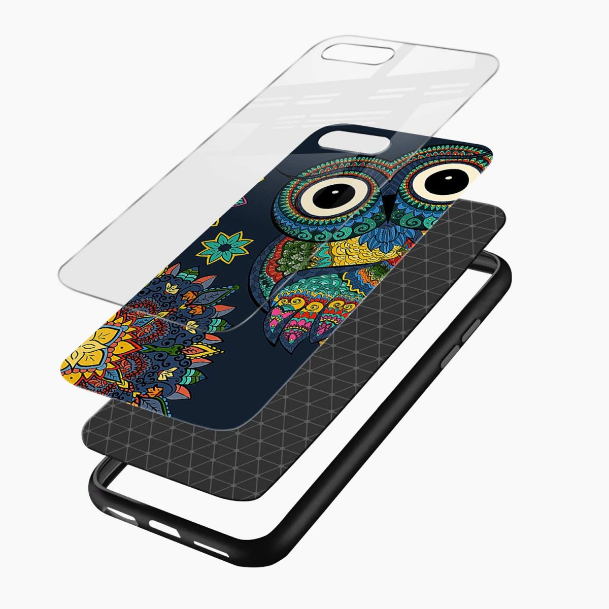owl eyes layers view apple iphone 7 8 plus back cover