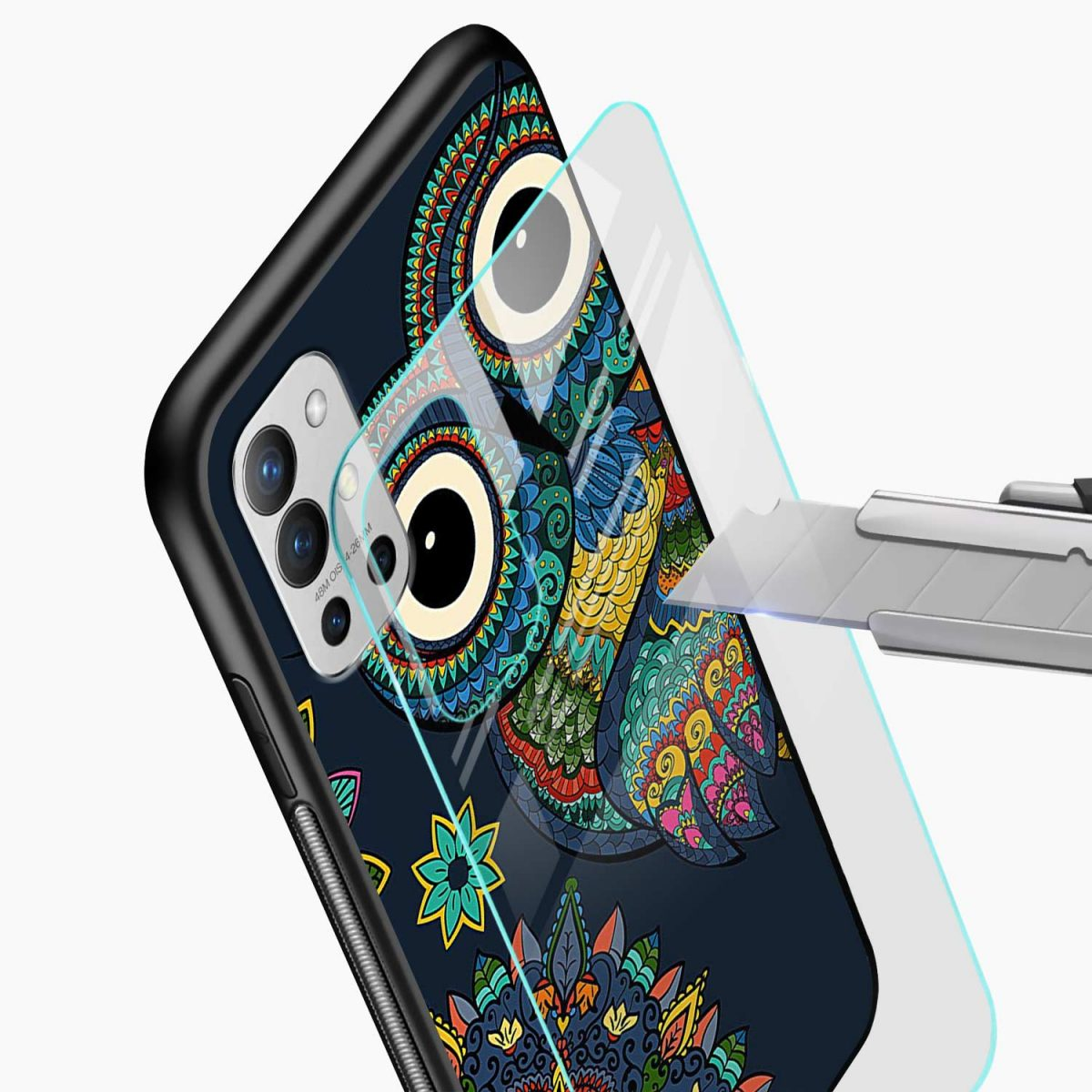 owl eyes glass view oneplus 9r back cover