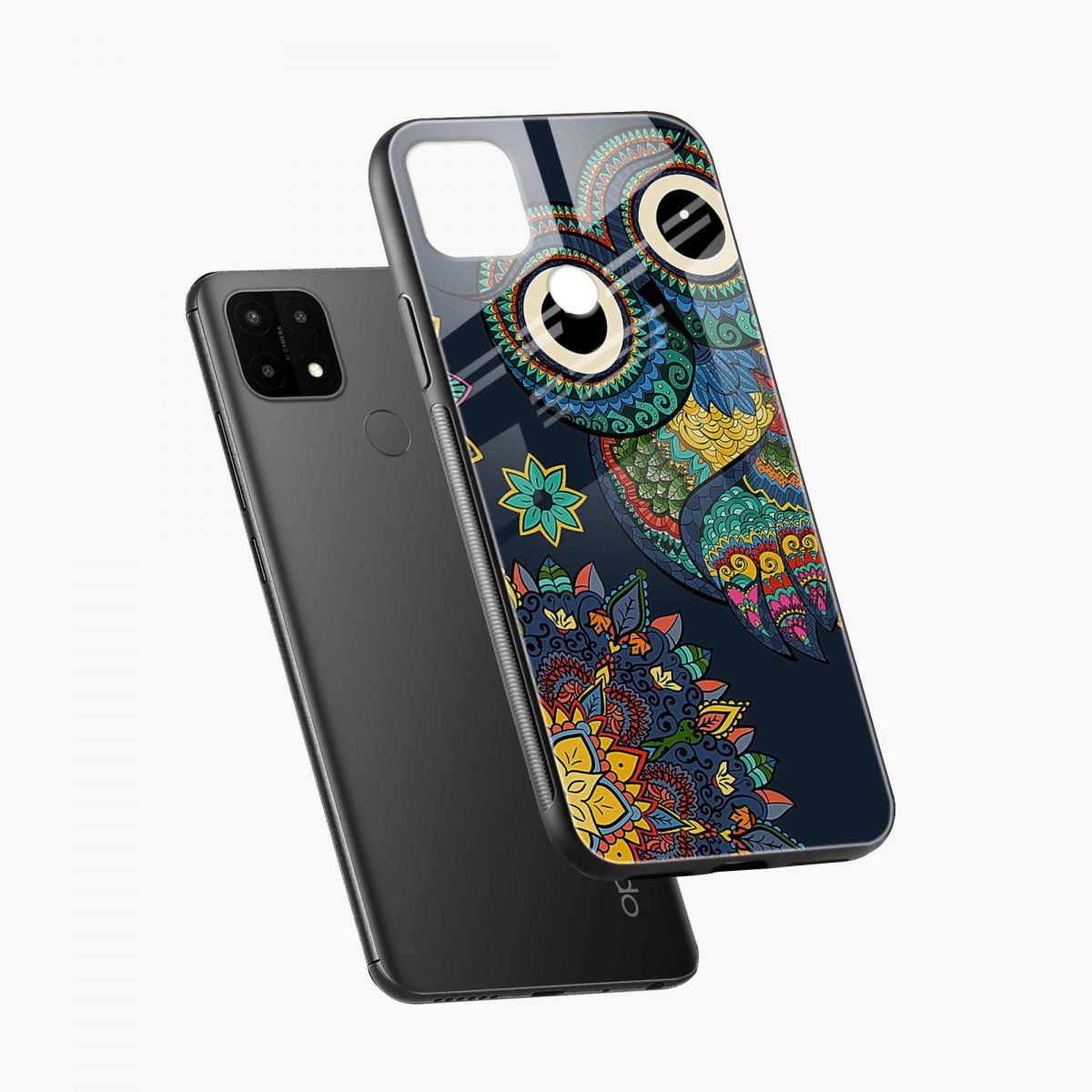 owl eyes diagonal view oppo a15 back cover