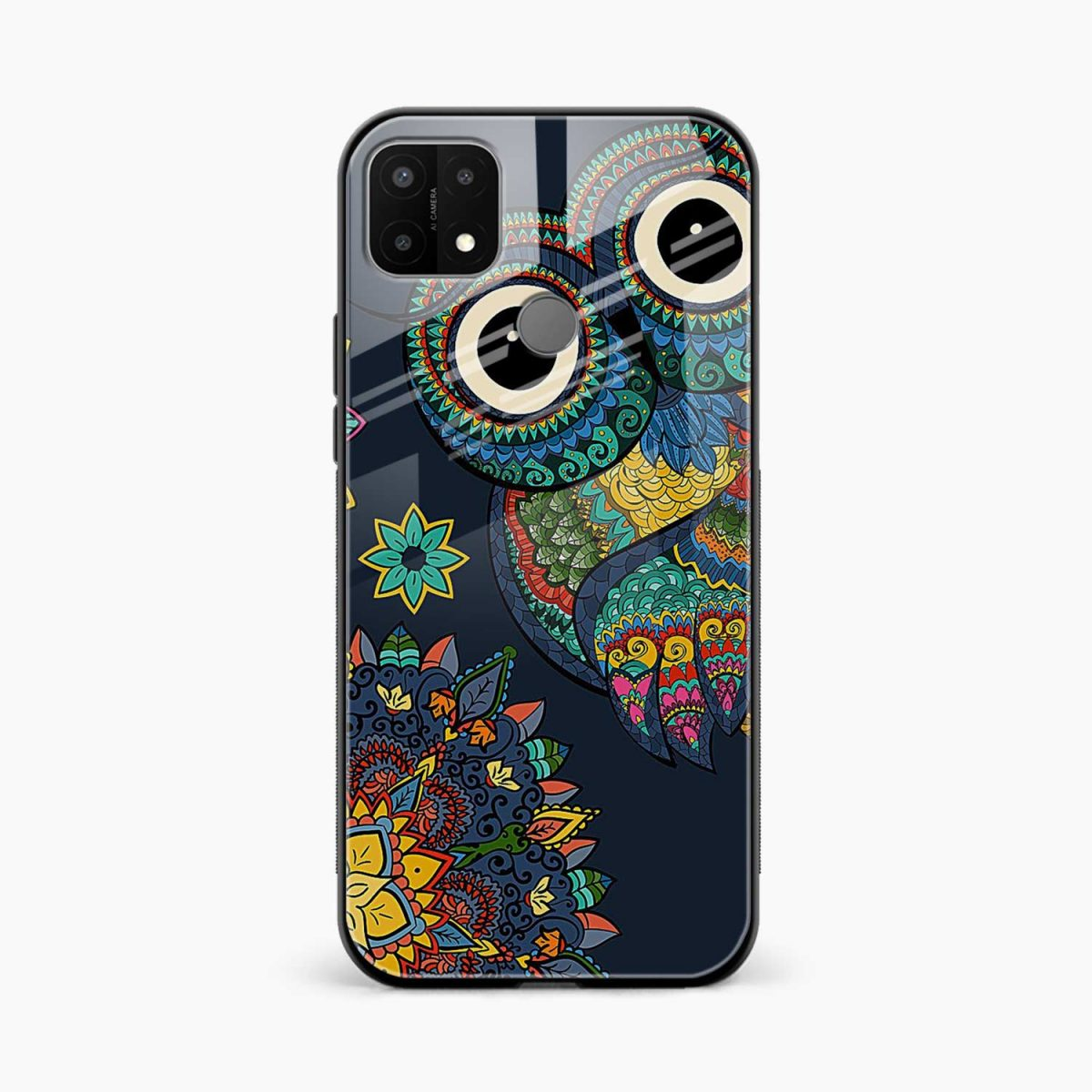 owl eyes front view oppo a15 back cover