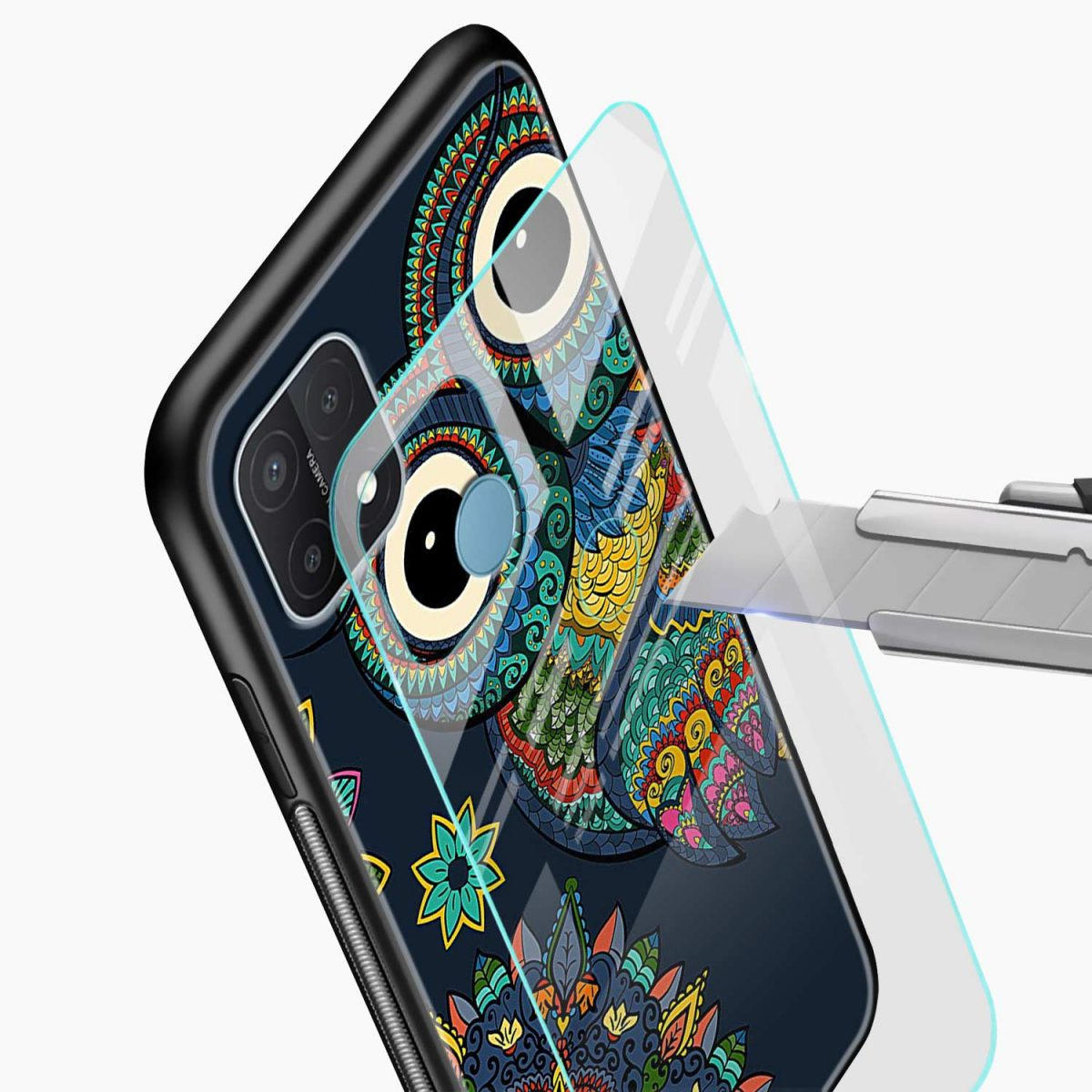 owl eyes glass view oppo a15 back cover