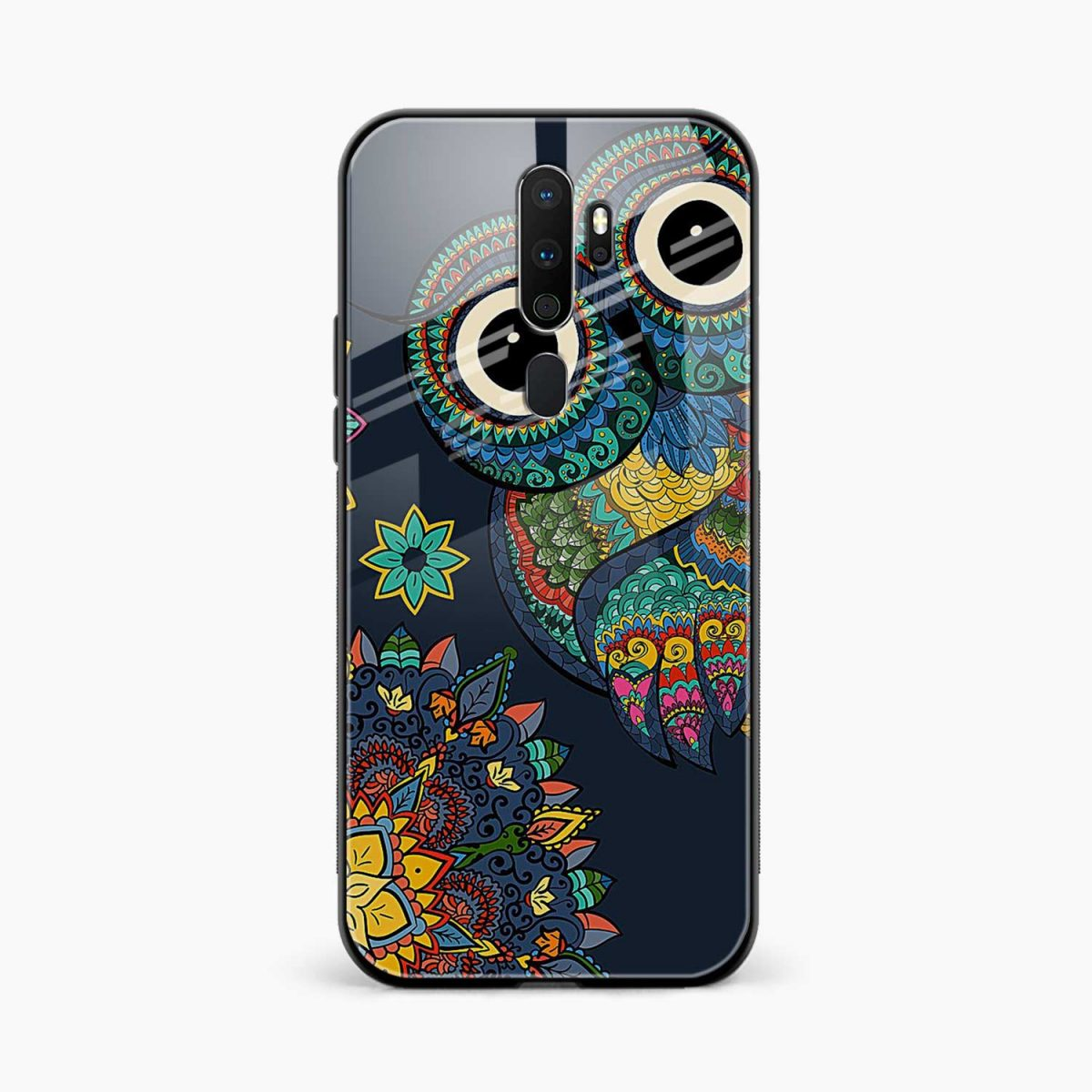 owl eyes front view oppo a5 back cover