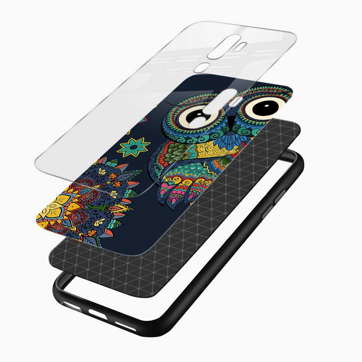 owl eyes layers view oppo a5 back cover