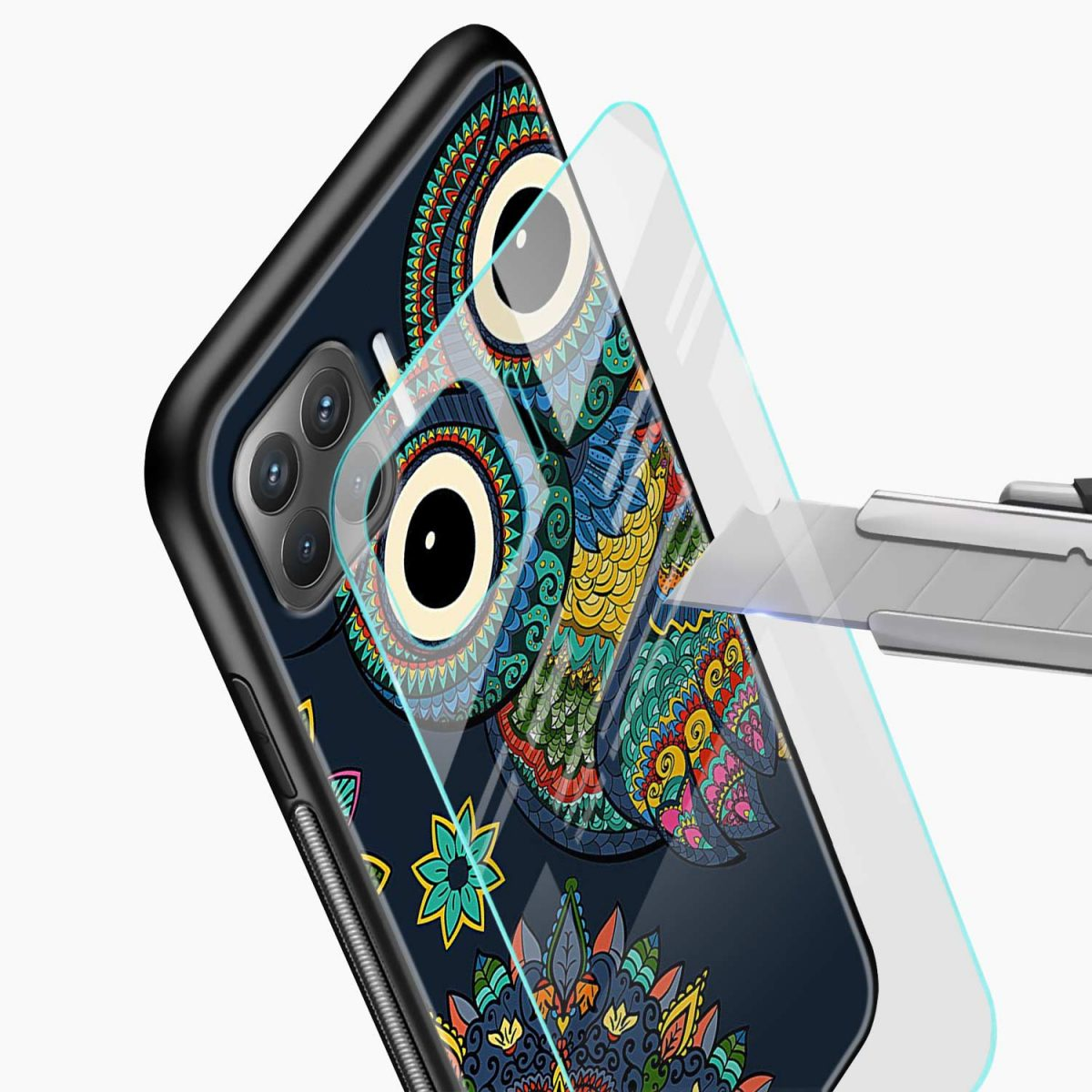owl eyes glass view oppo f17 pro back cove