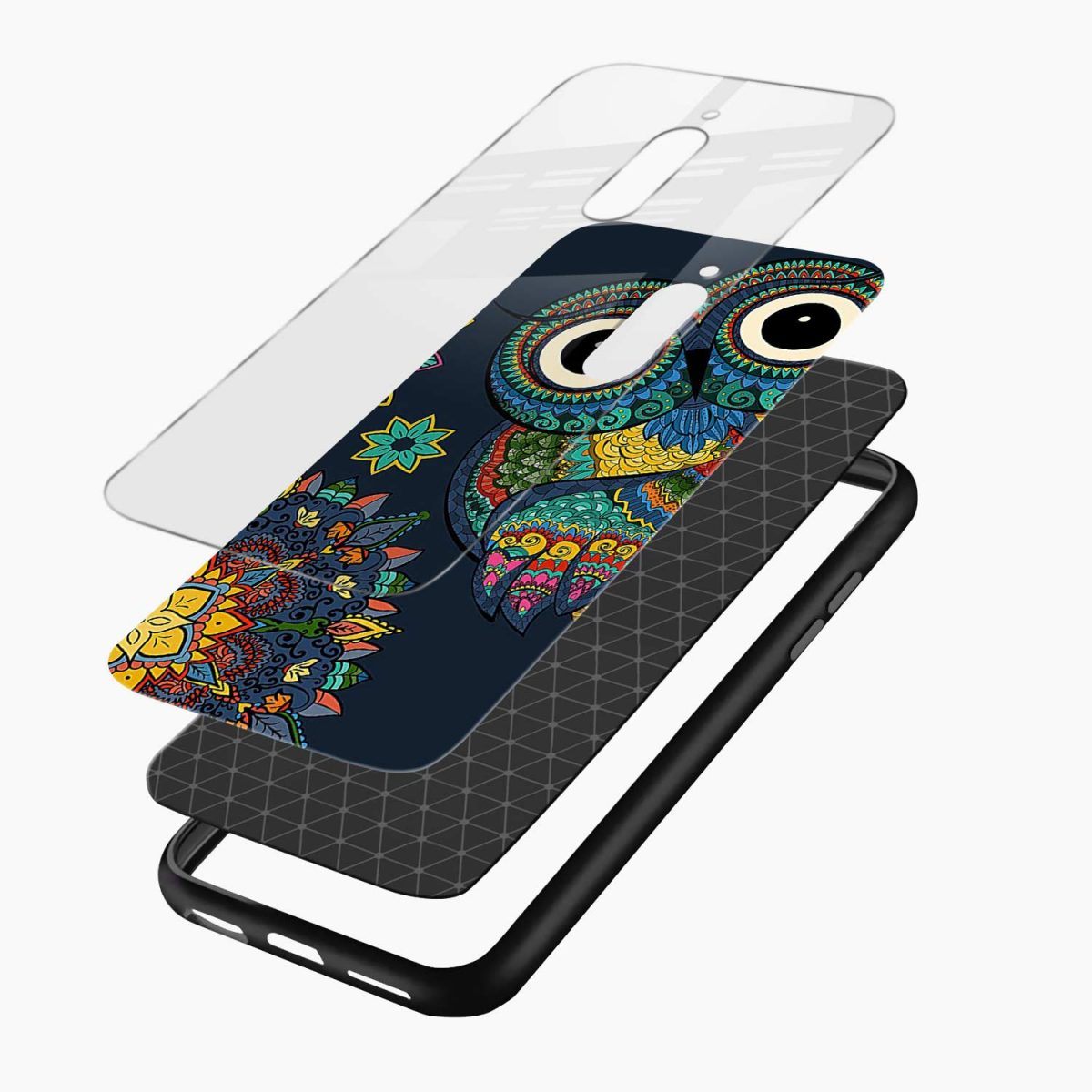 owl eyes layers view redmi 8 back cover