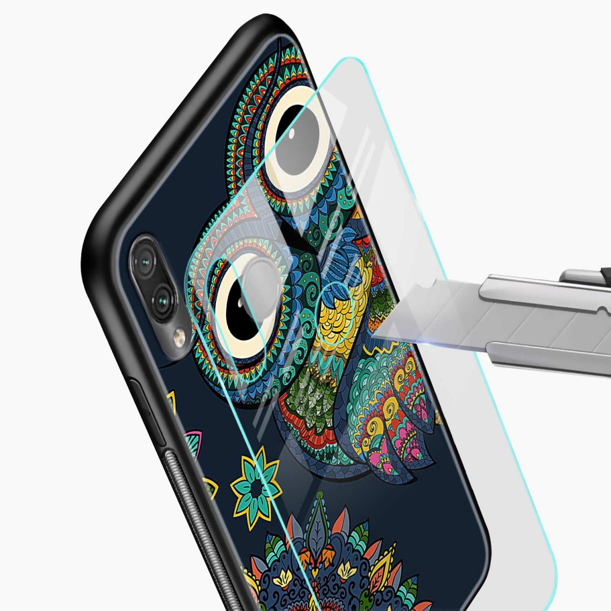 owl eyes glass view redmi note7 back cover