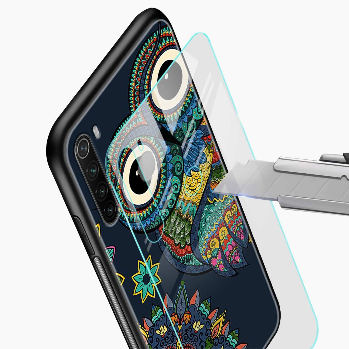 owl eyes glass view redmi note 8 back cover