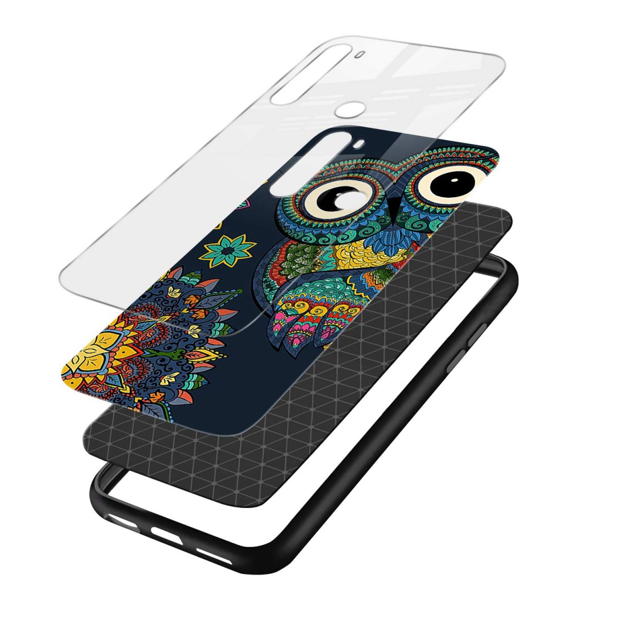 owl eyes layers view redmi note 8 back cover