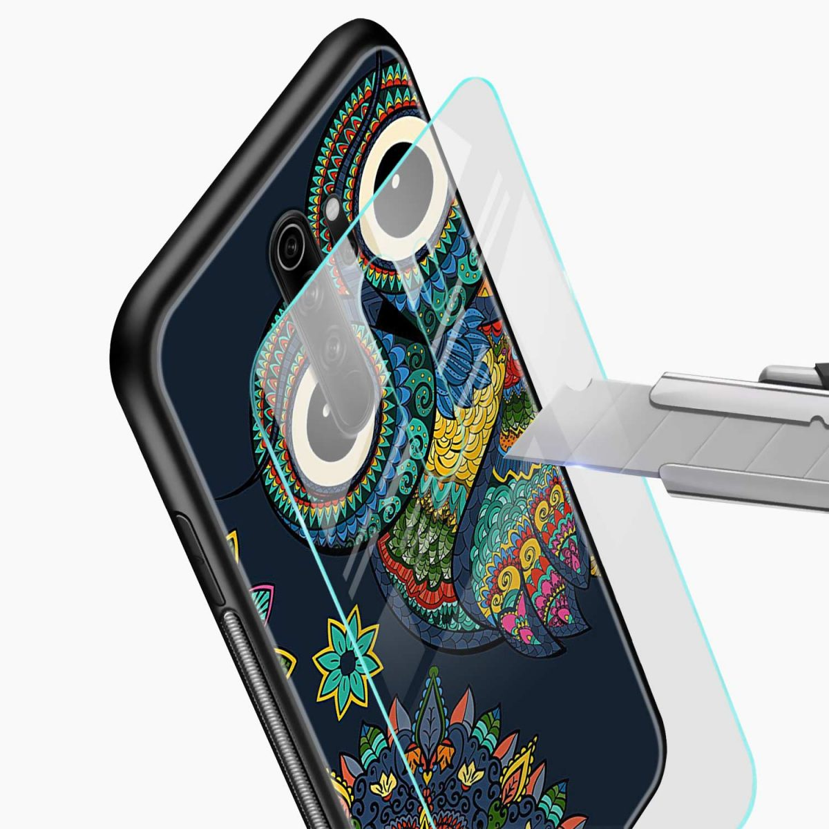 owl eyes redmi note 8 pro back cover glass view