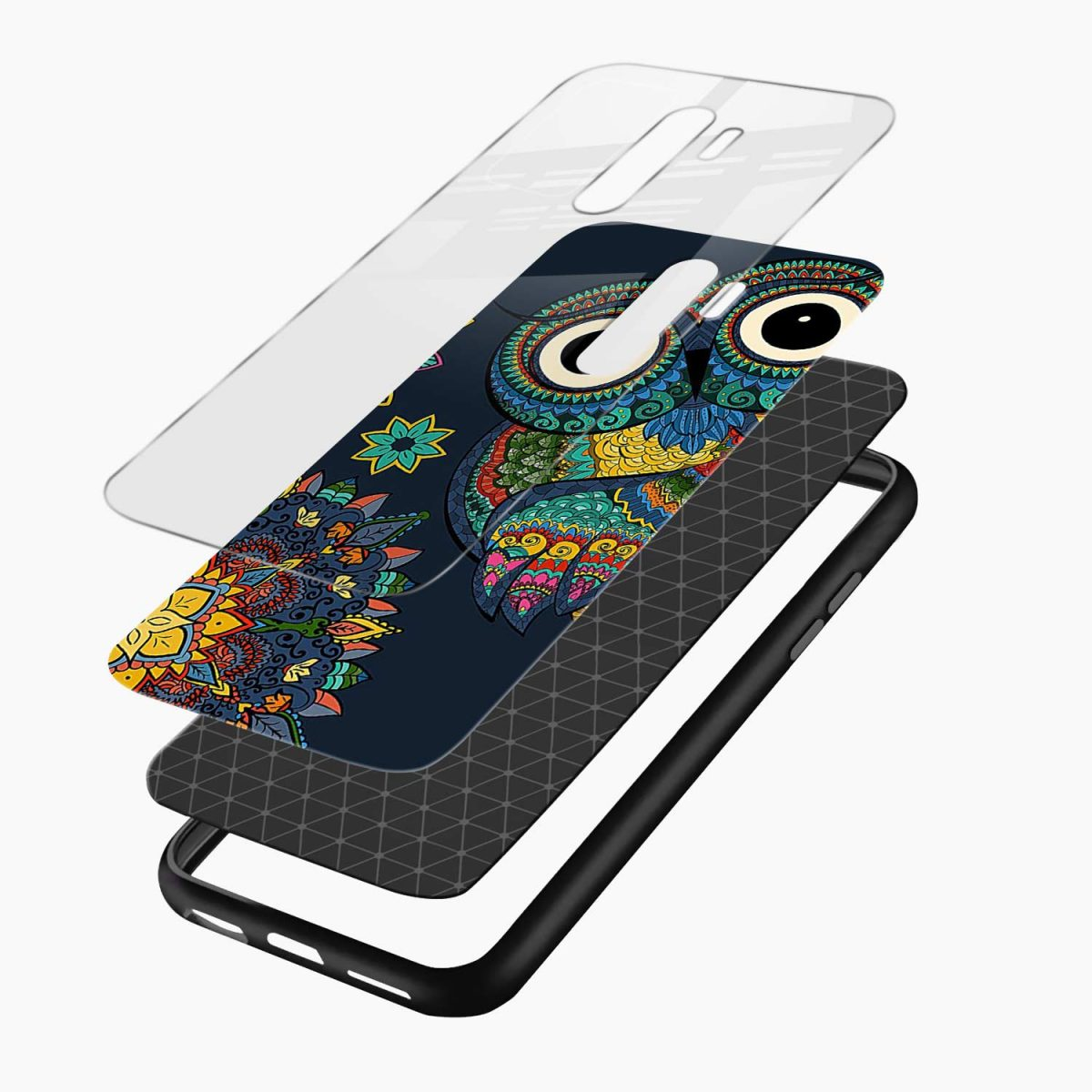 owl eyes redmi note 8 pro back cover layers view