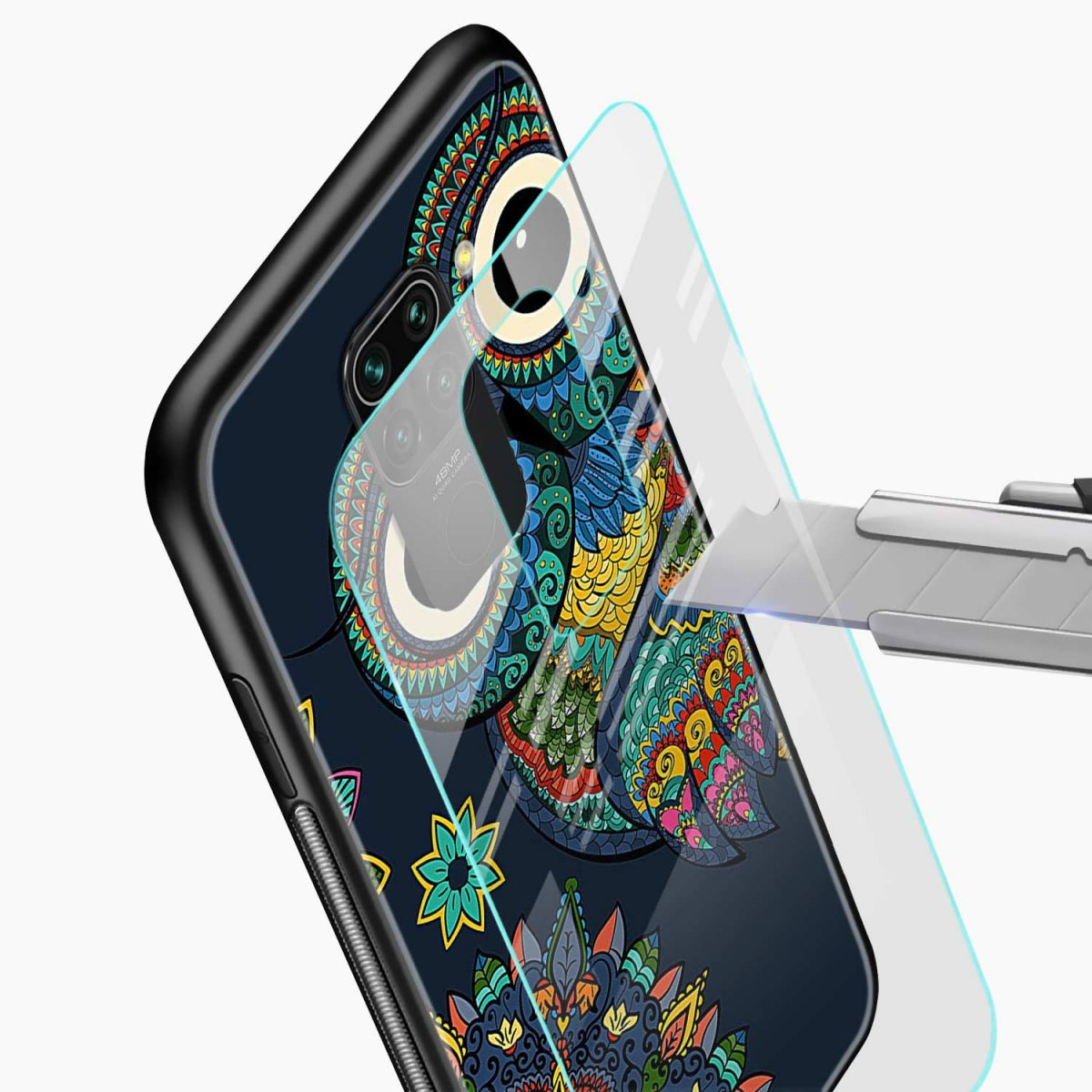 owl eyes glass view redmi note 9 back cover