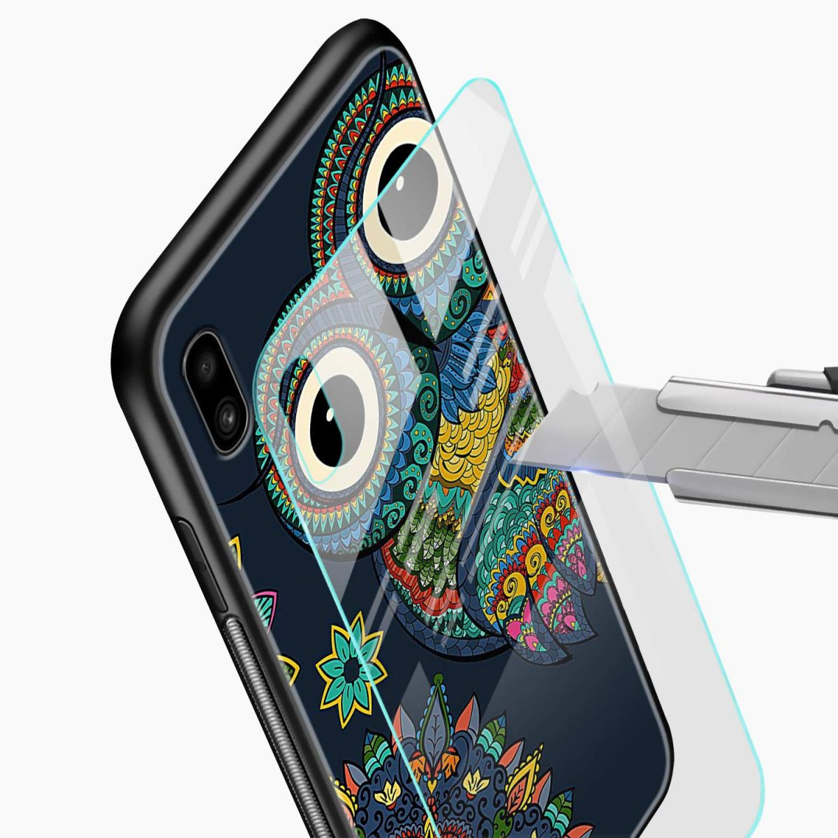 owl eyes glass view samsung galaxy a10 back cover
