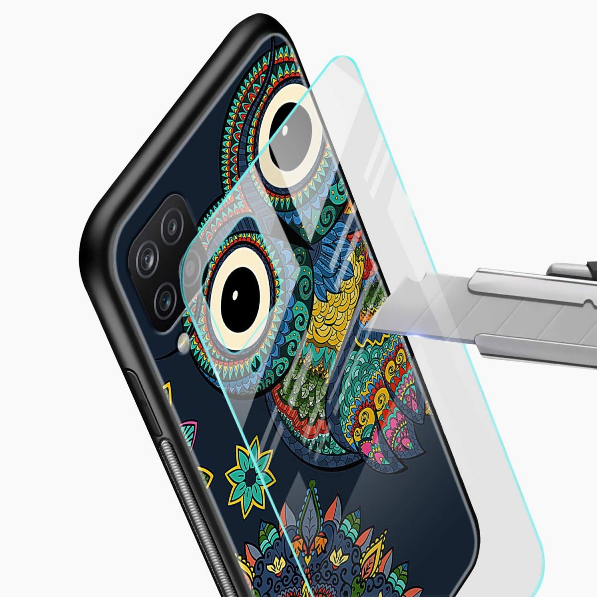 owl eyes glass view samsung galaxy a12 back cover
