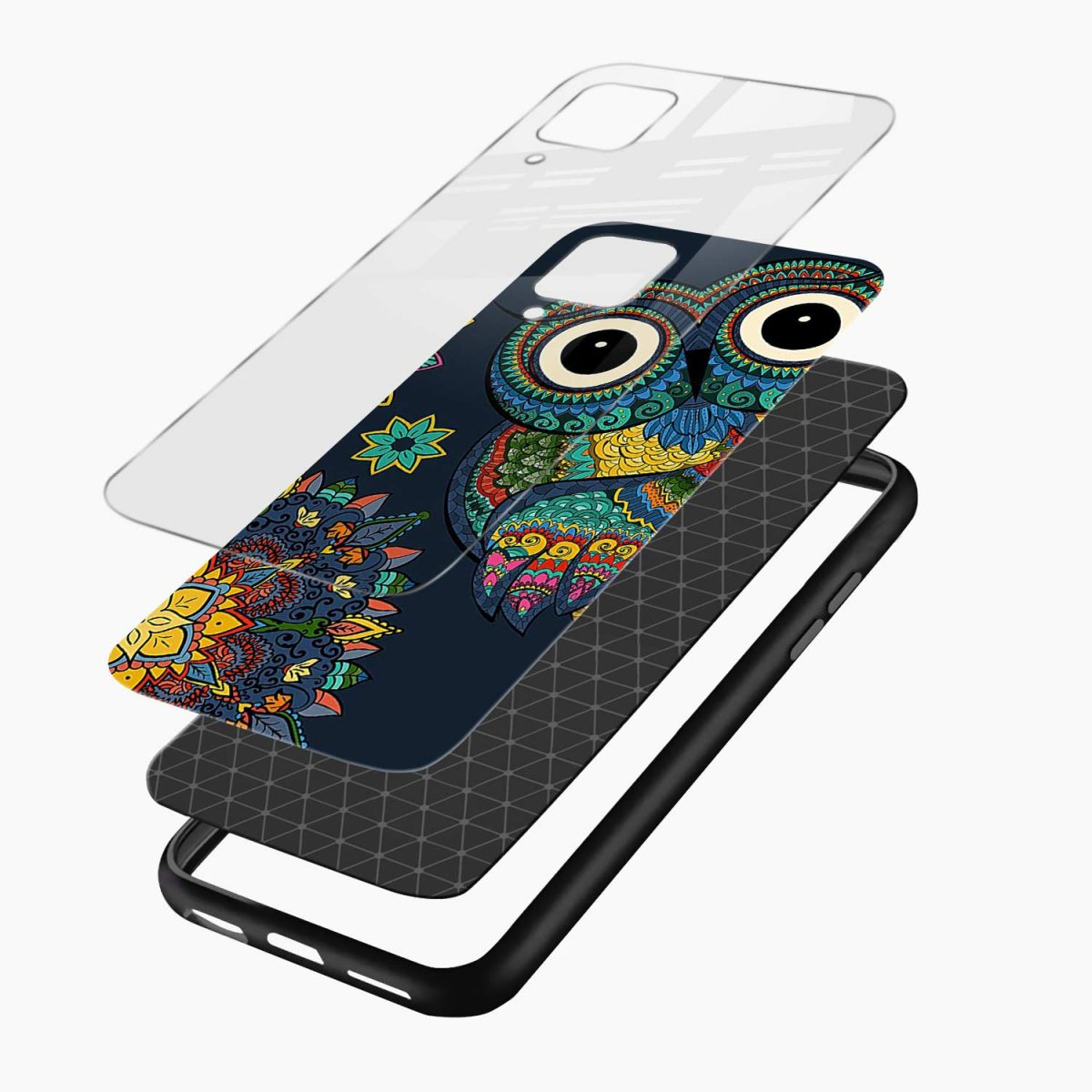 owl eyes layers view samsung galaxy a12 back cover