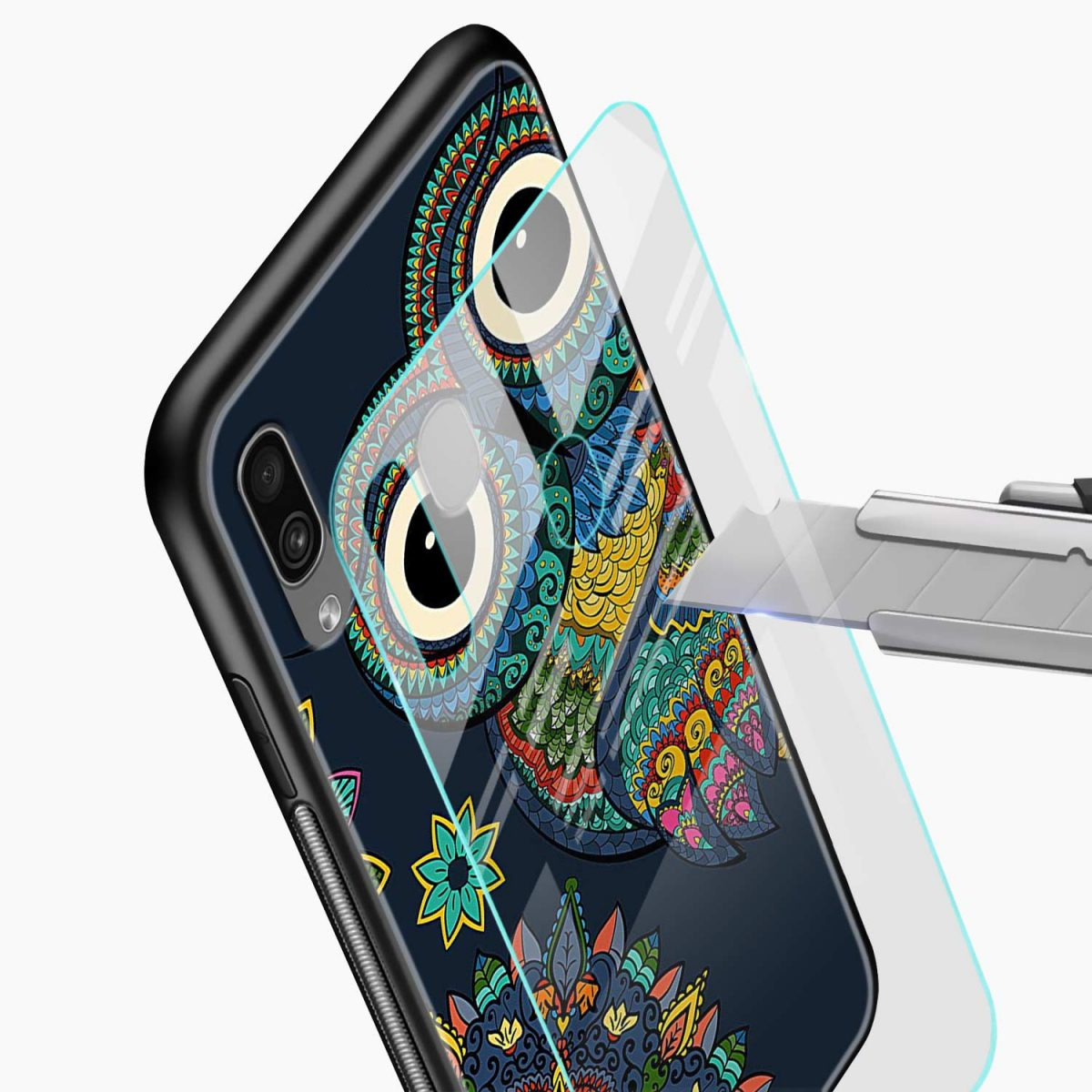 owl eyes glass view samsung galaxy a30 back cover