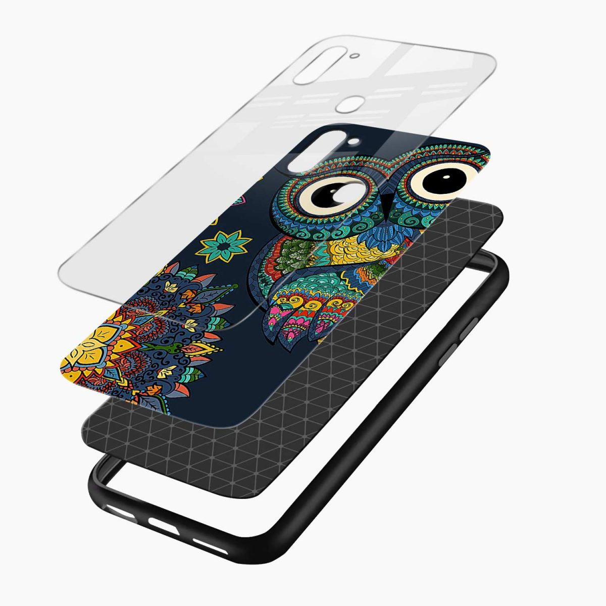 owl eyes layers view samsung galaxy m11 back cover