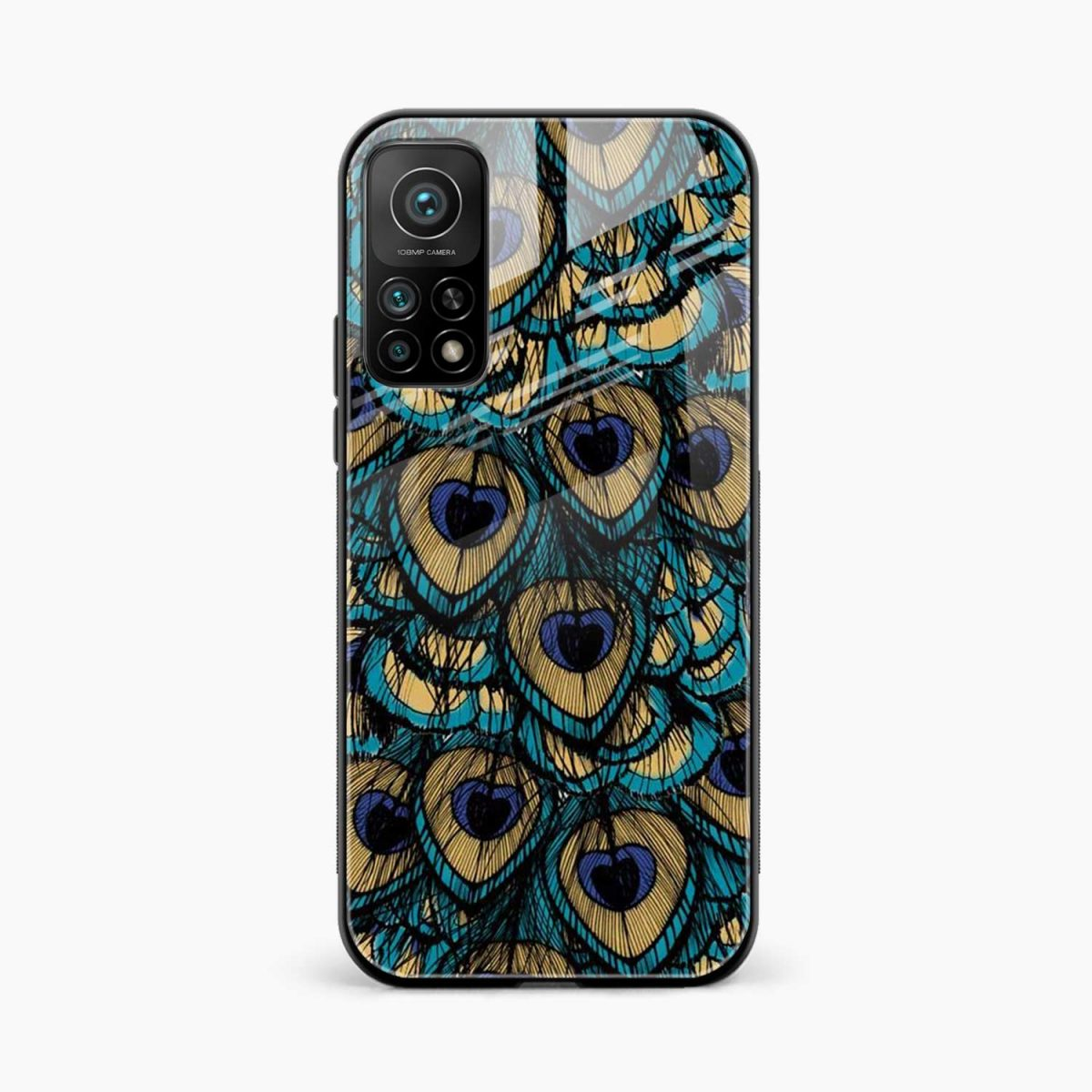 peacock feather xiaomi mi 10t pro back cover front view
