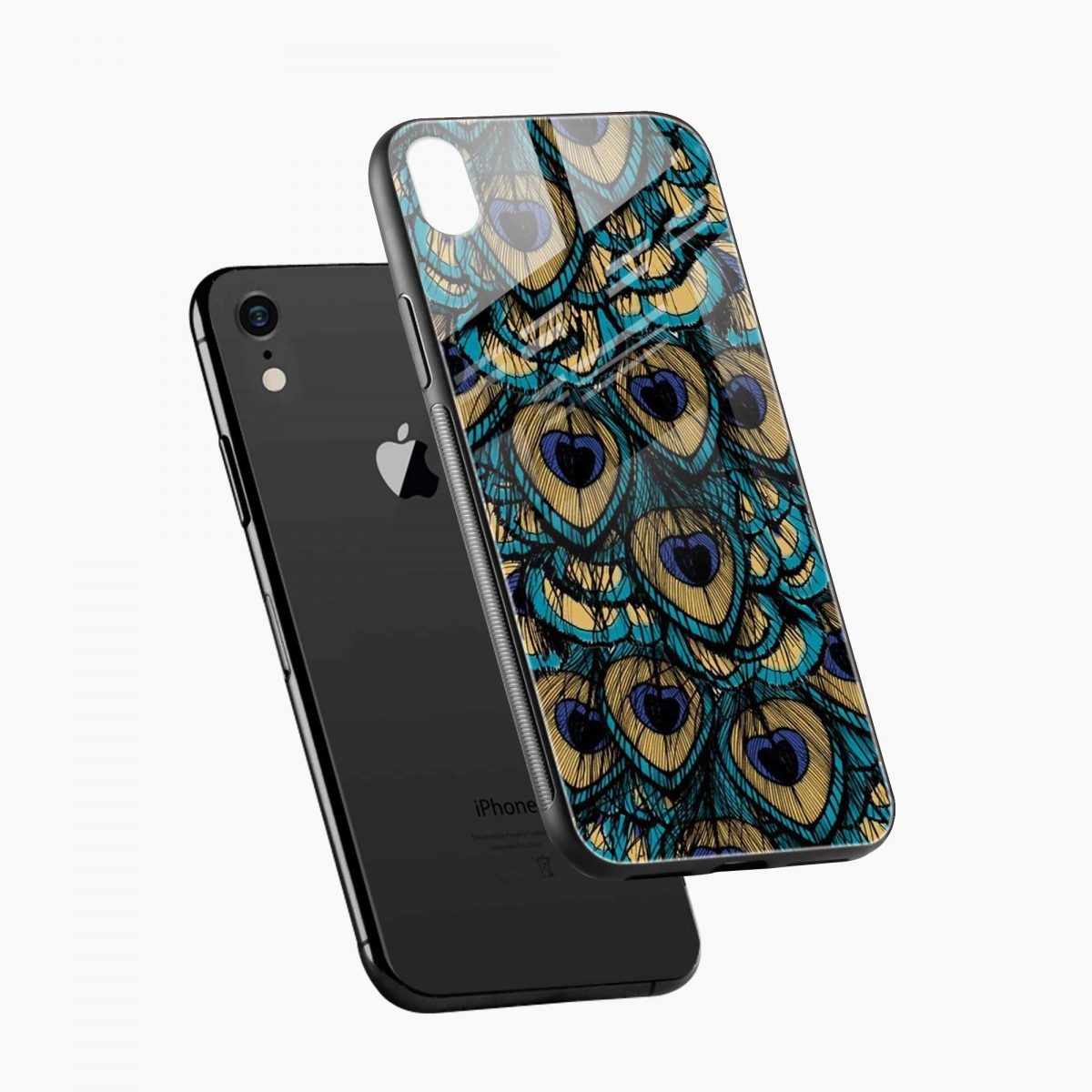 peacock feather apple iphone xr back cover diagonal view