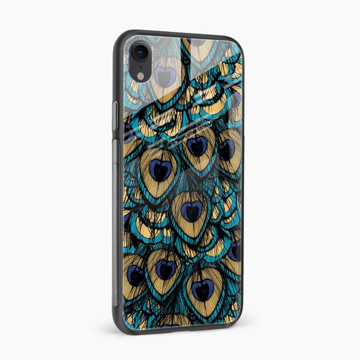 peacock feather apple iphone xr back cover side view