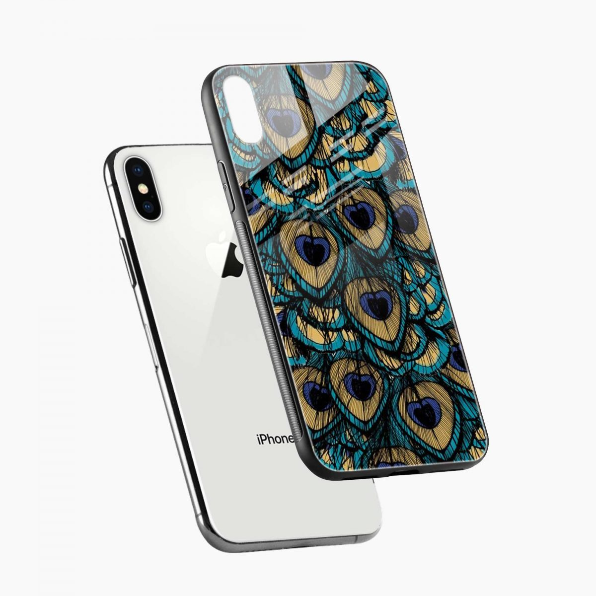 peacock feather diagonal view apple iphone x xs max back cover