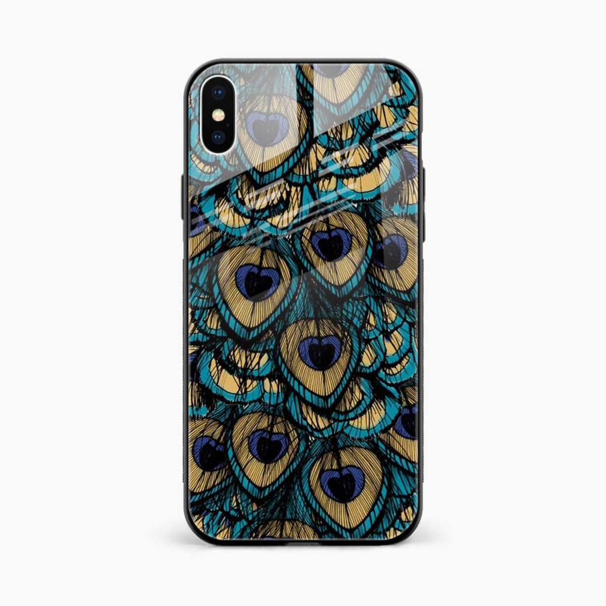 peacock feather front view apple iphone x xs max back cover