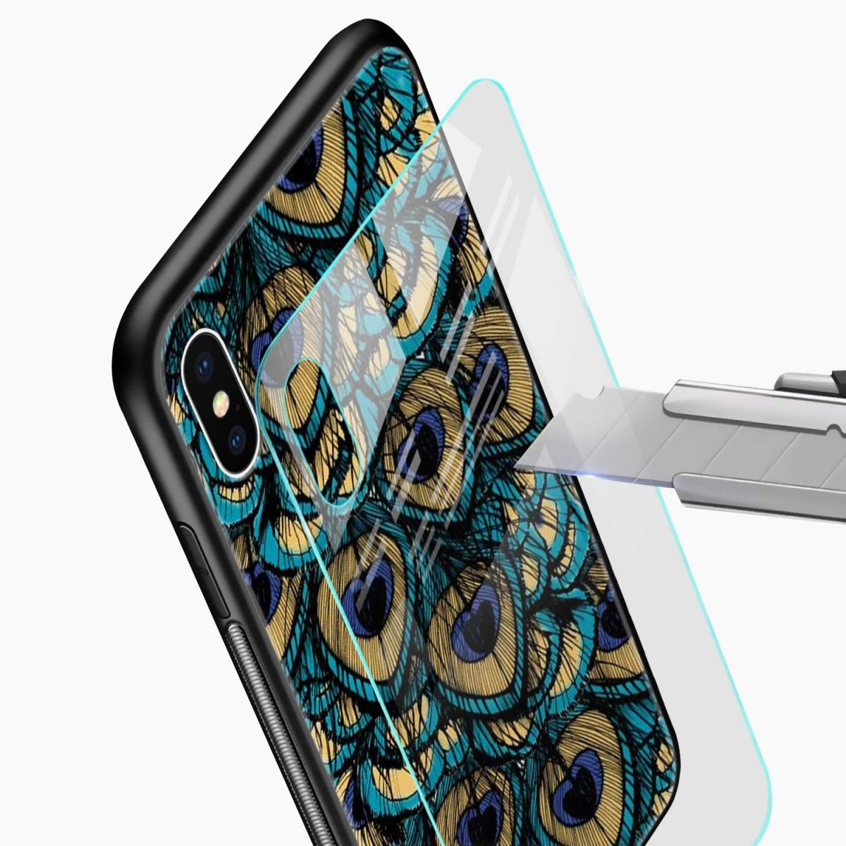 peacock feather glass view apple iphone x xs max back cover