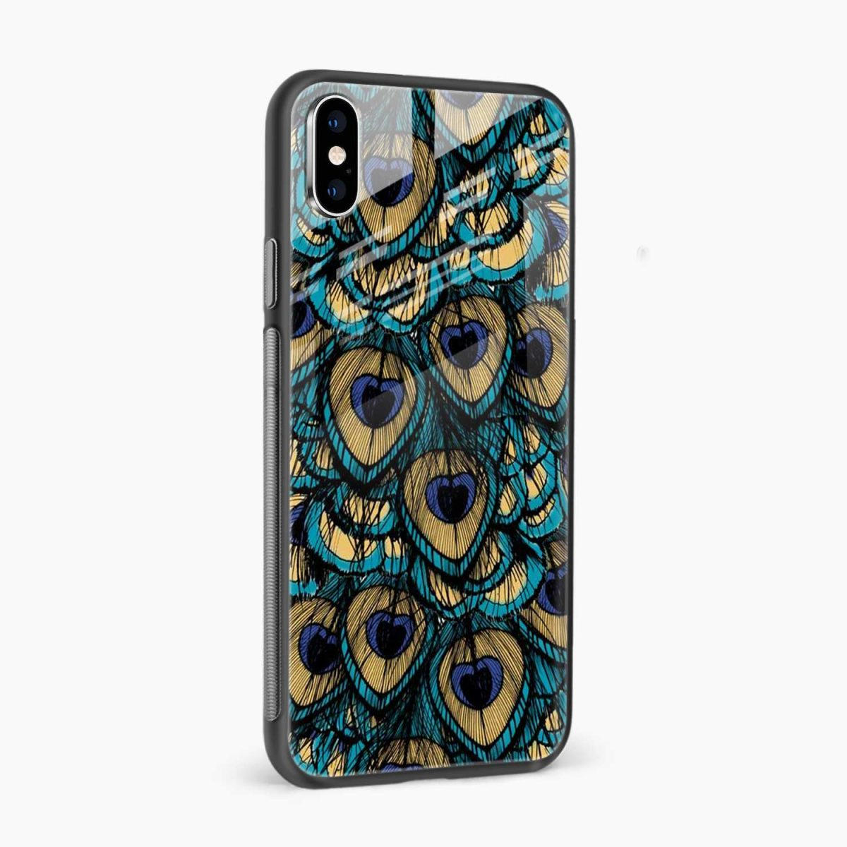 peacock feather side view apple iphone x xs max back cover