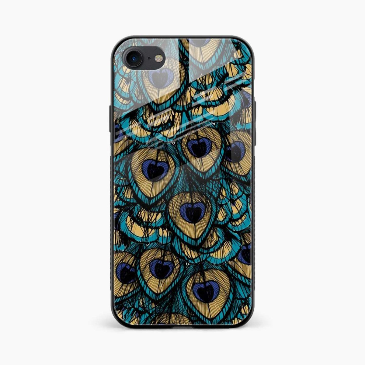 peacock feather front view apple iphone 6 7 8 se back cover