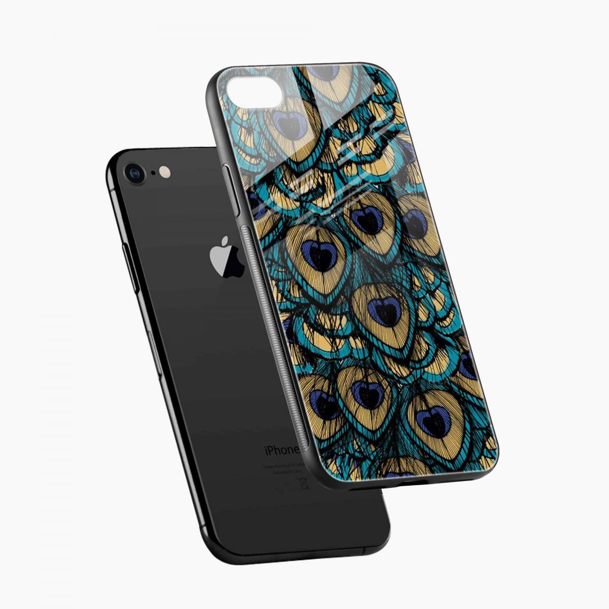 peacock feather diagonal view apple iphone 6 7 8 se back cover