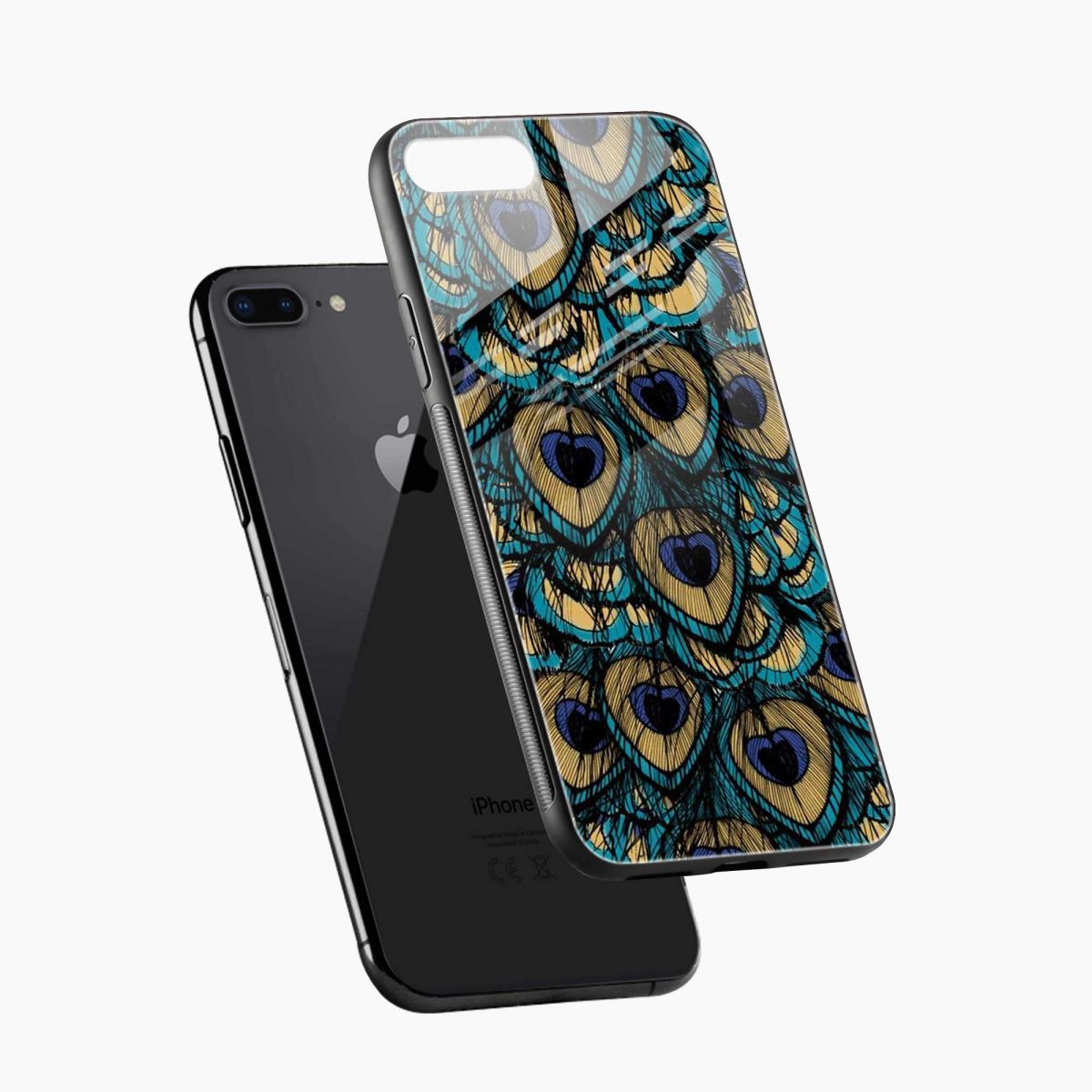 peacock feather diagonal view apple iphone 7 8 plus back cover