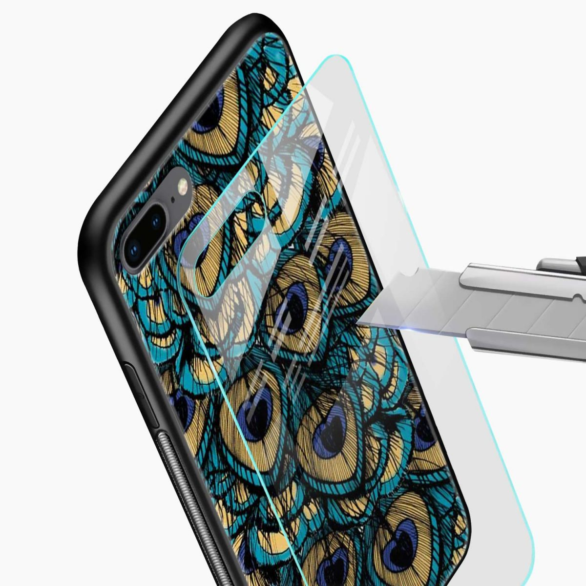 peacock feather glass view apple iphone 7 8 plus back cover