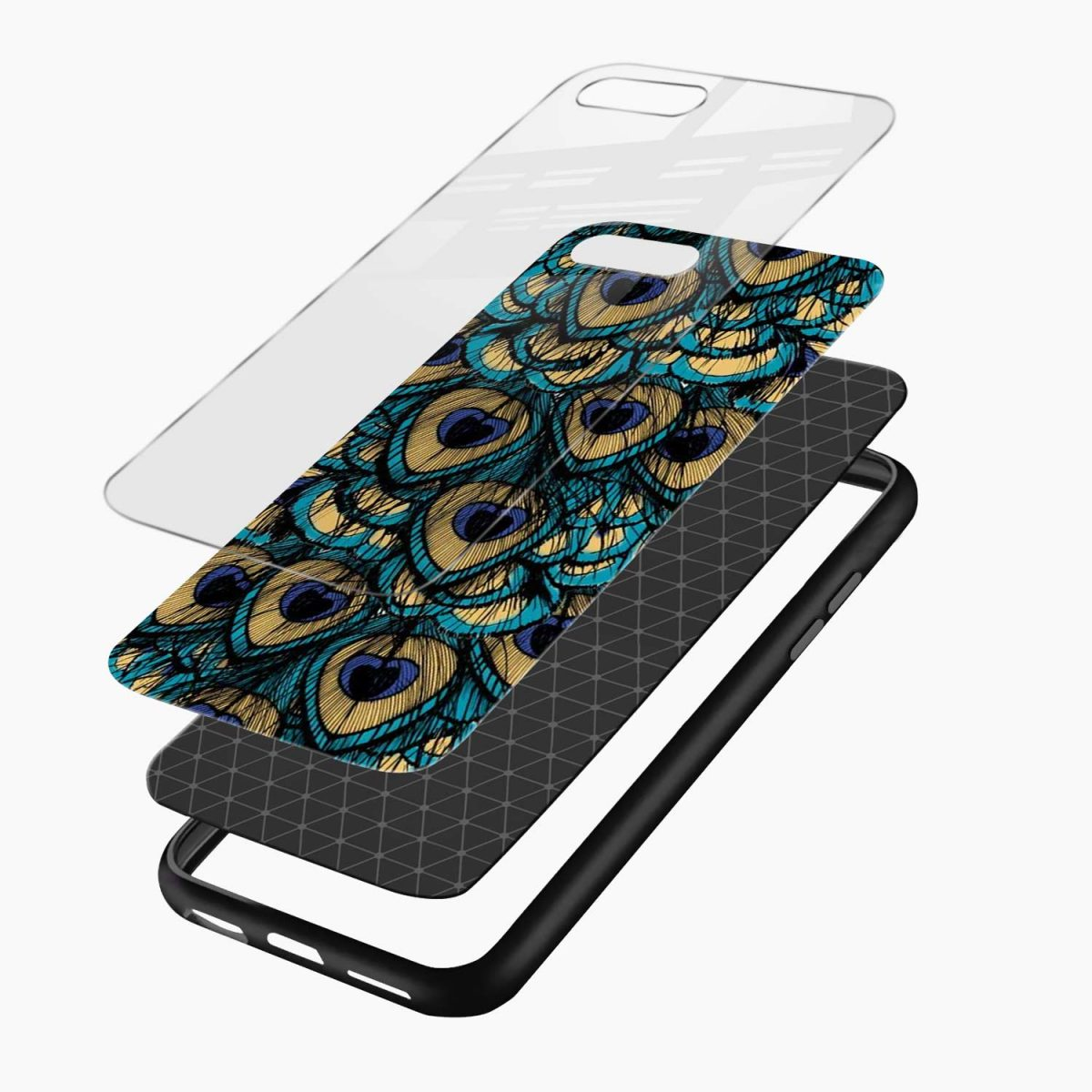 peacock feather layers view apple iphone 7 8 plus back cover