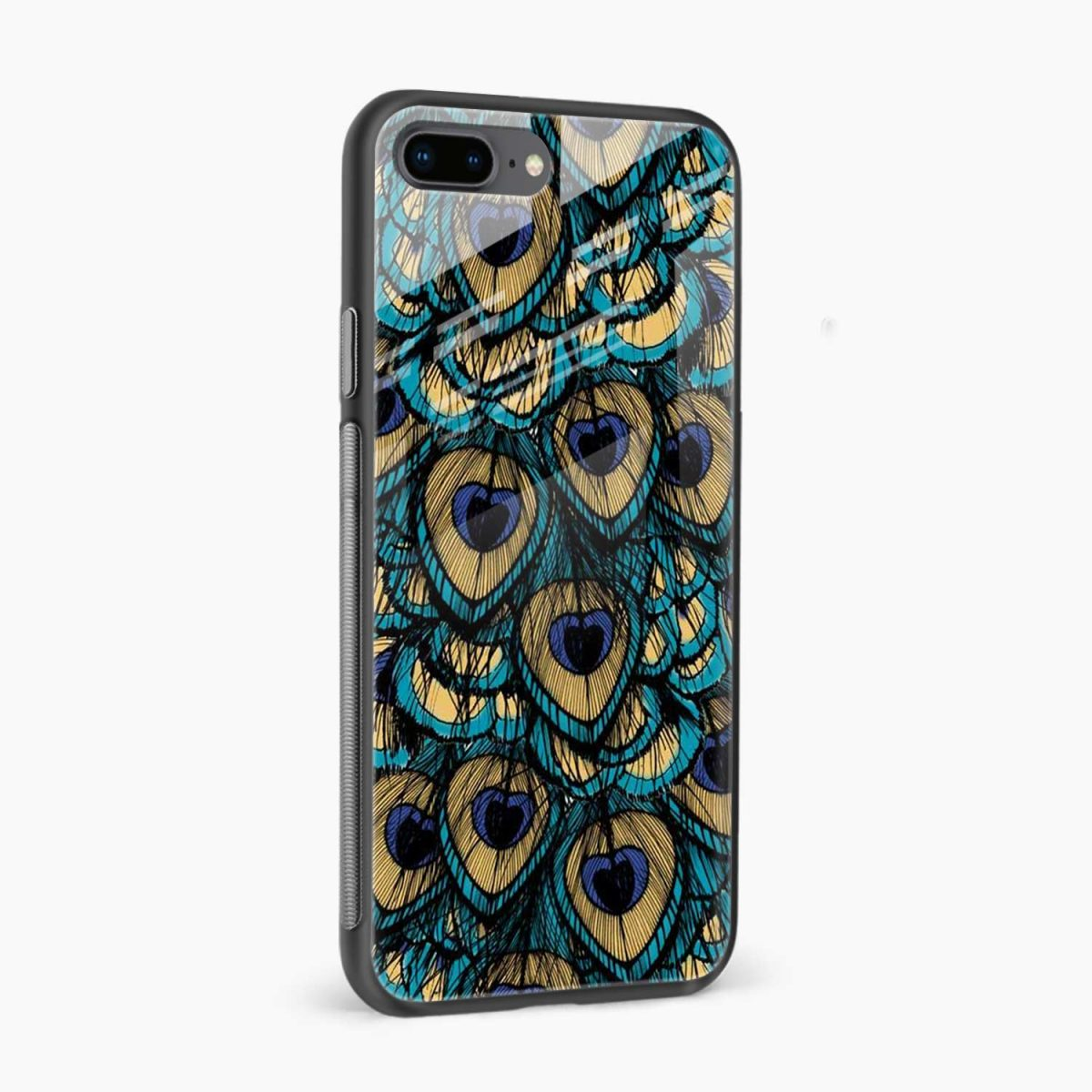 peacock feather side view apple iphone 7 8 plus back cover