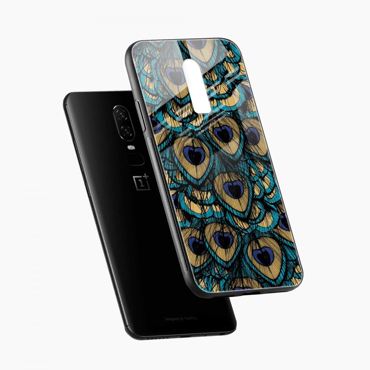 peacock feather diagonal view oneplus 6 back cover