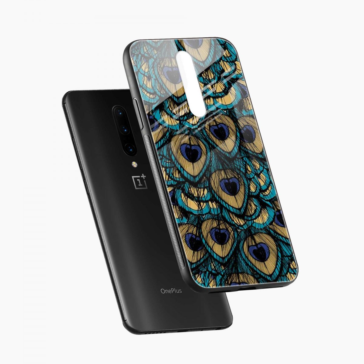 peacock feather diagonal view oneplus 7 pro back cover