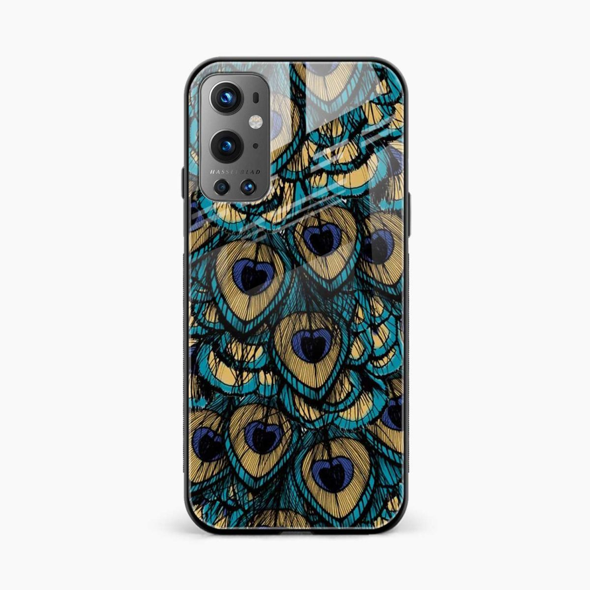 peacock feather front view oneplus 9 pro back cover