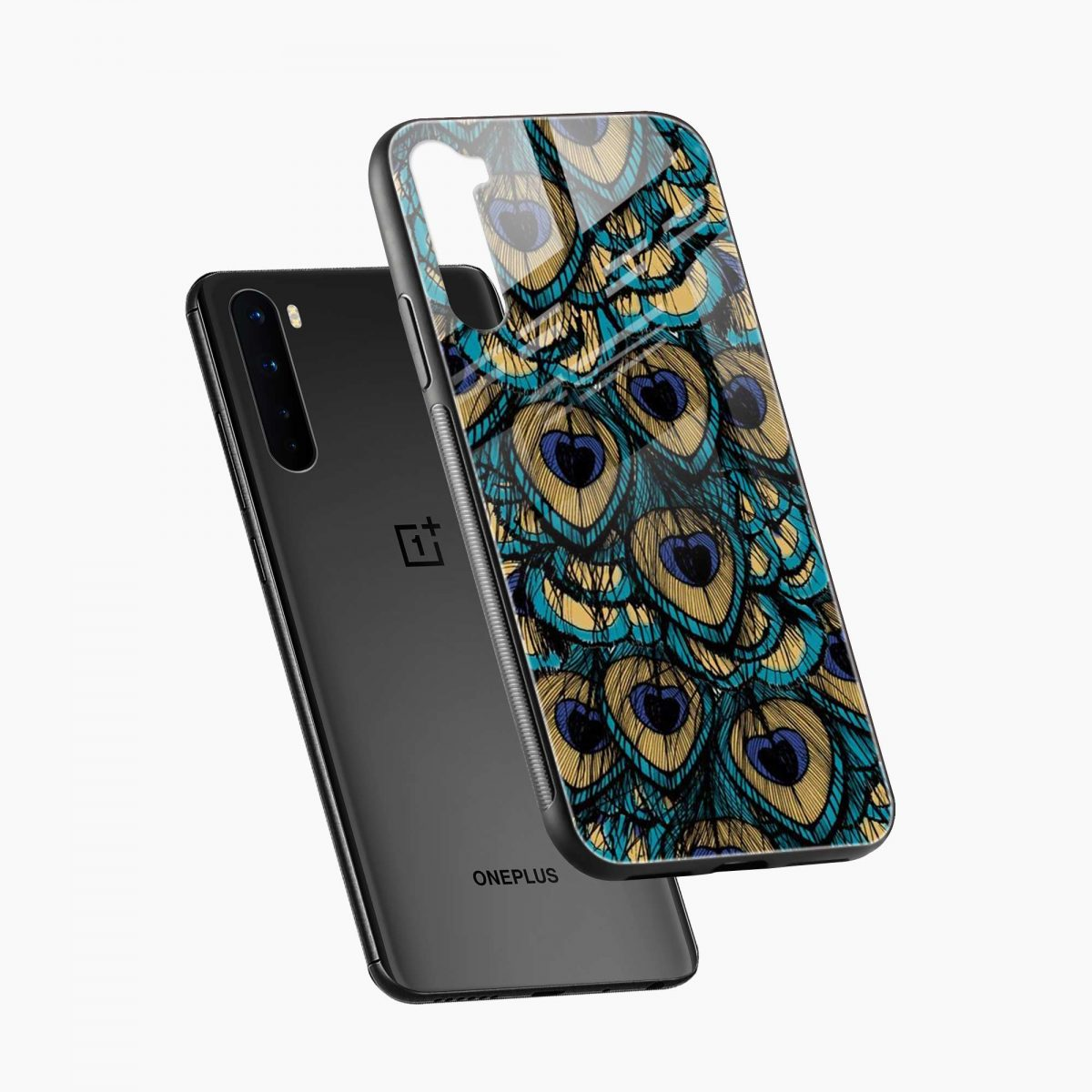 peacock feather diagonal view oneplus nord back cover