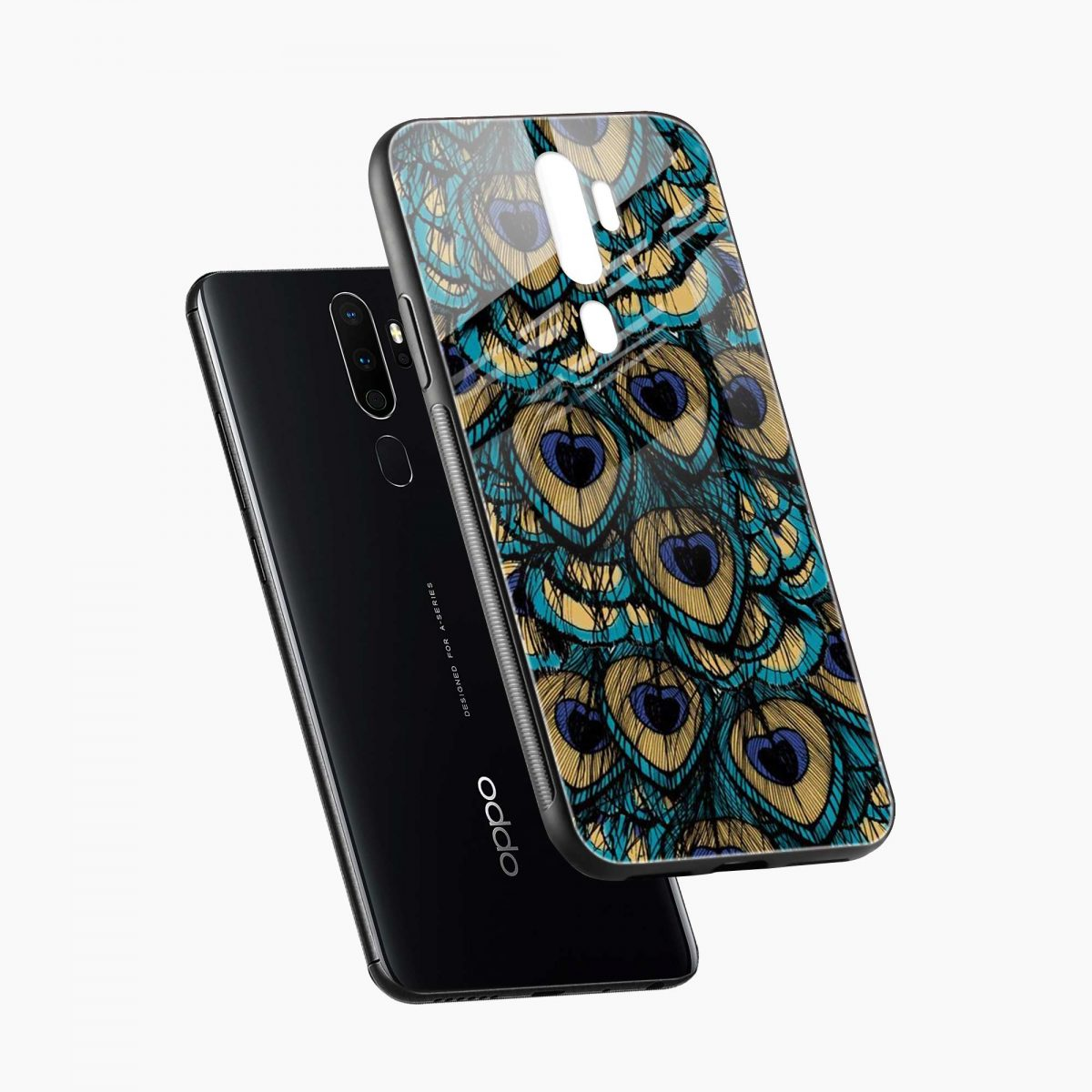 peacock feather diagonal view oppo a5 back cover